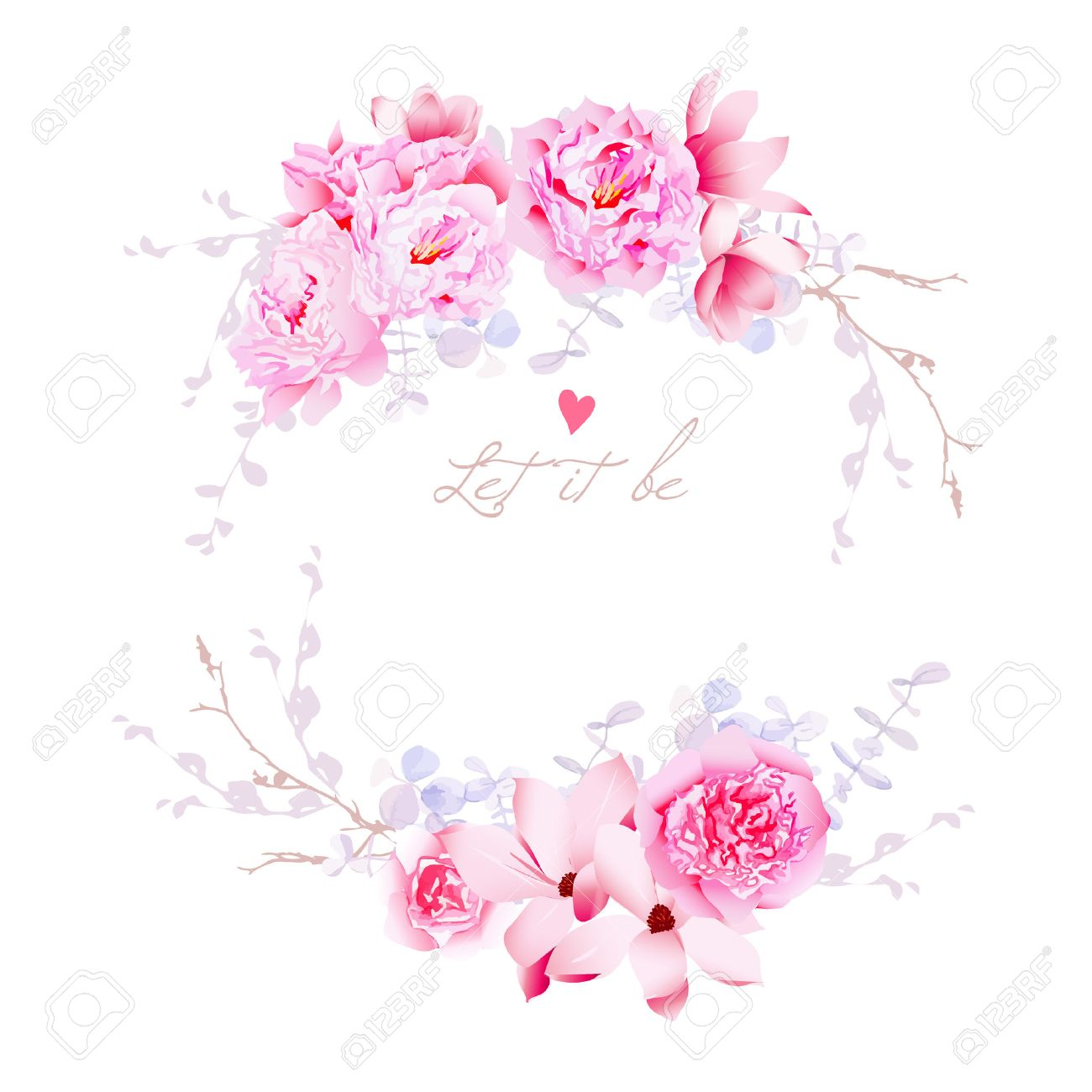 Spring magnolia and peonies vector frame gentle flowers wedding spring magnolia and peonies vector frame gentle flowers wedding template all elements are isolated maxwellsz