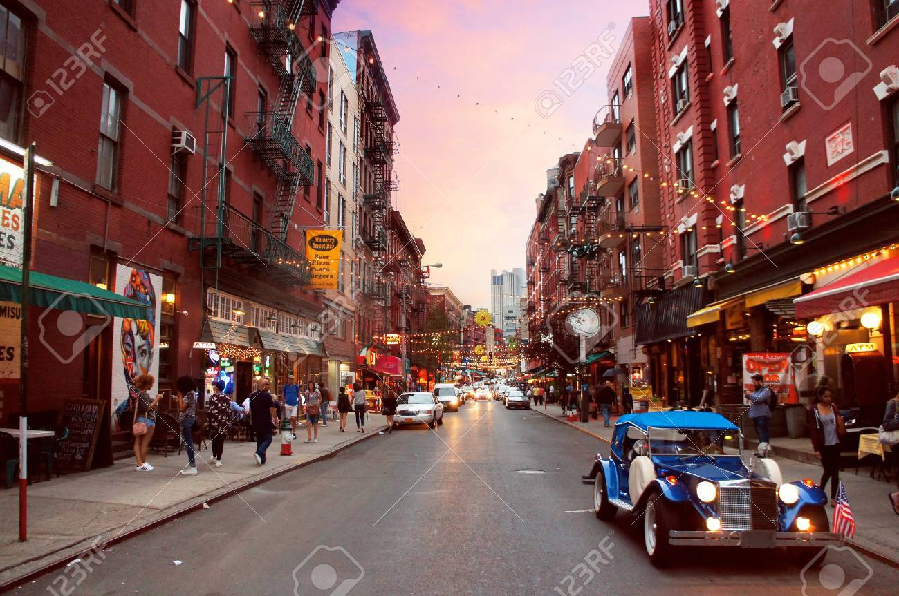 mulberry street  Little Italy Mulberry Street By Evening In The New York City. Stock ...