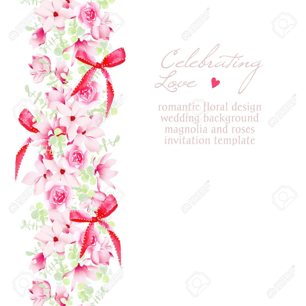 vector wedding invitation with bouquets and red bows vector design frame beautiful save the date template