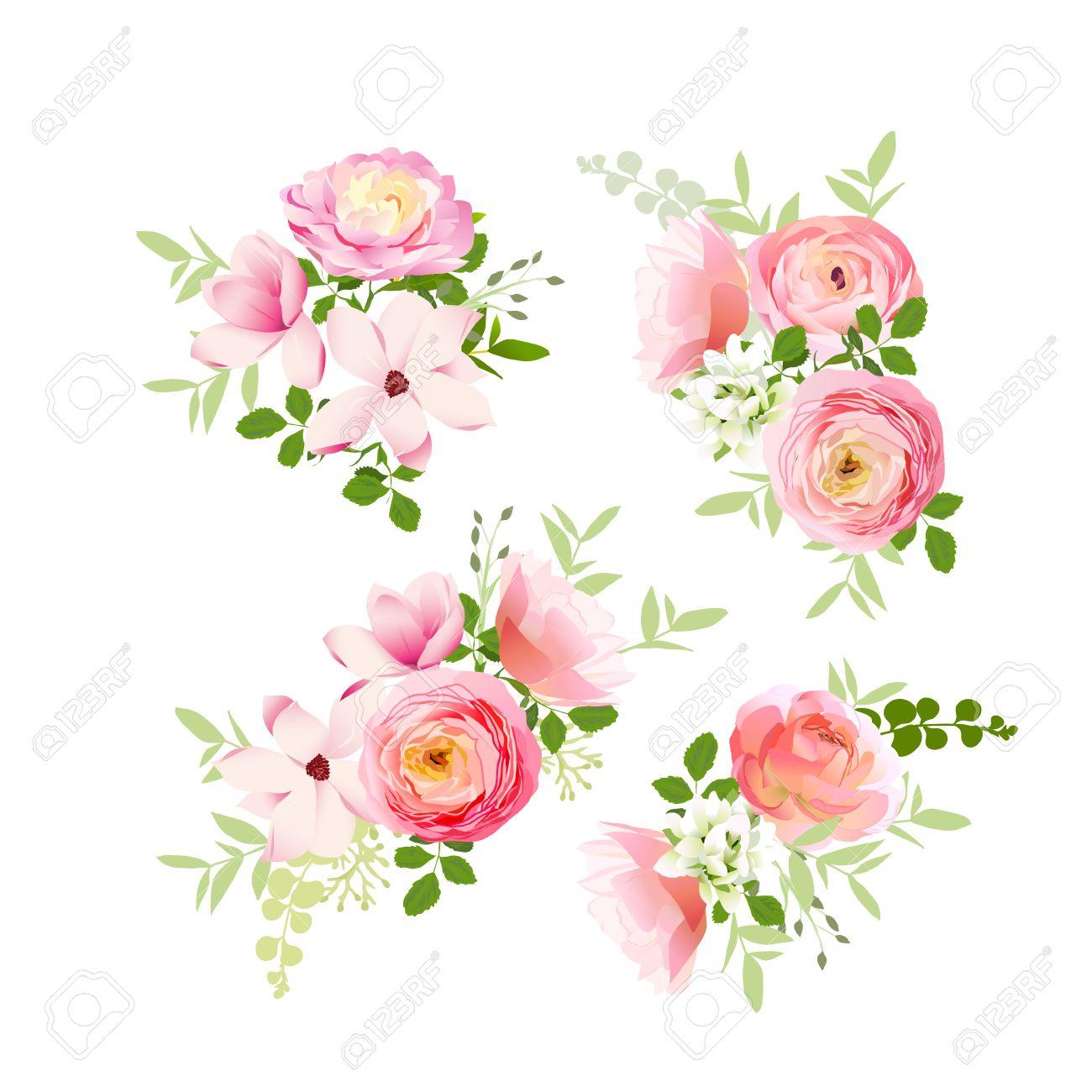 Wedding bouquets of fresh roses, magnolia, ranunculus vector design elements - 52130672