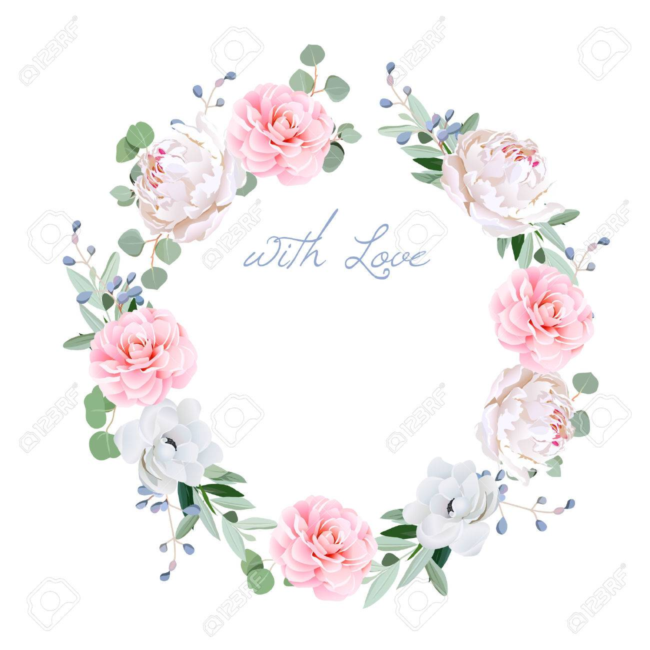 Spring fresh peony, anemone, camellia, brunia flowers and eucaliptis leaves round frame. All elements are isolated and editable. - 54494281