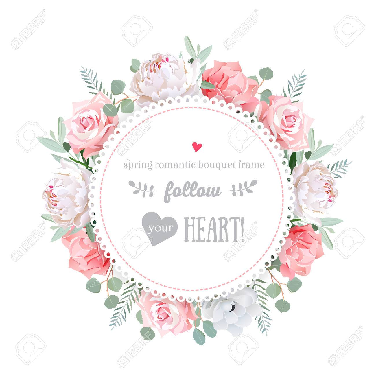 Delicate wedding floral design frame. Peony, rose, anemone, pink flowers. Colorful floral objects. All elements are isolated and editable. - 55728584