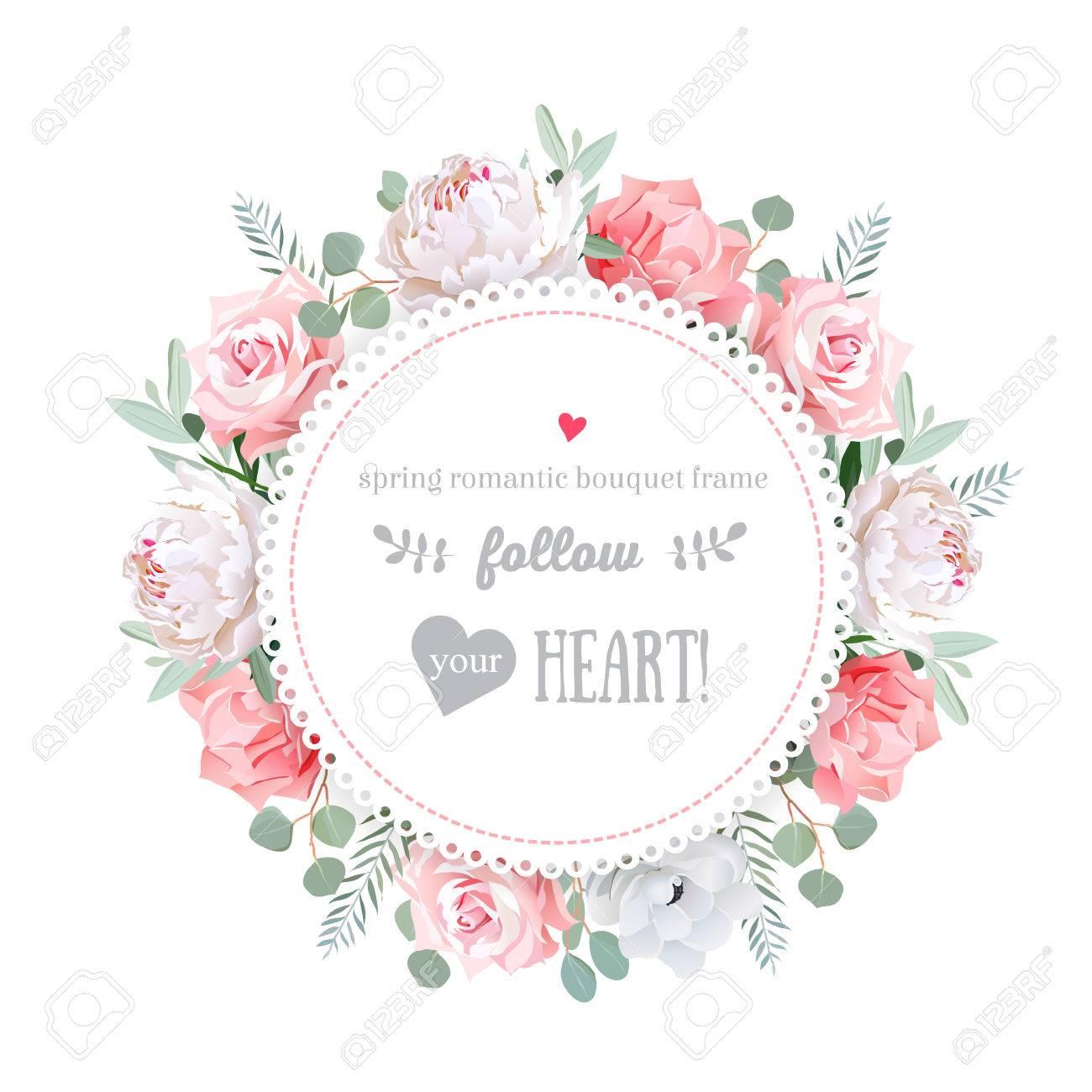 Delicate Wedding Floral Design Frame. Peony, Rose, Anemone, Pink ...