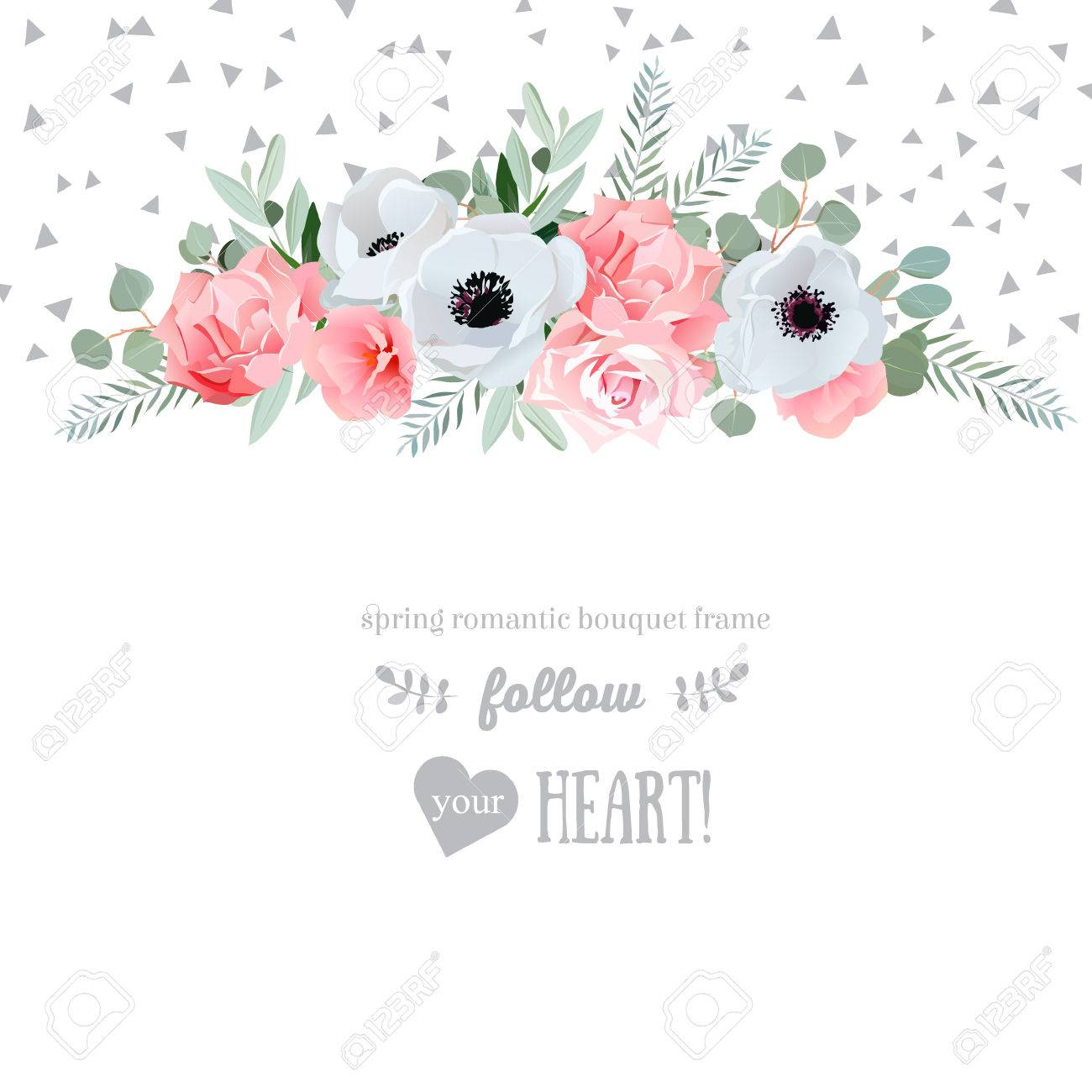 Anemone, rose, pink flowers and decorative eucaliptus leaves design card. Speckled triangle confetti backdrop. All elements are isolated and editable. - 55728590