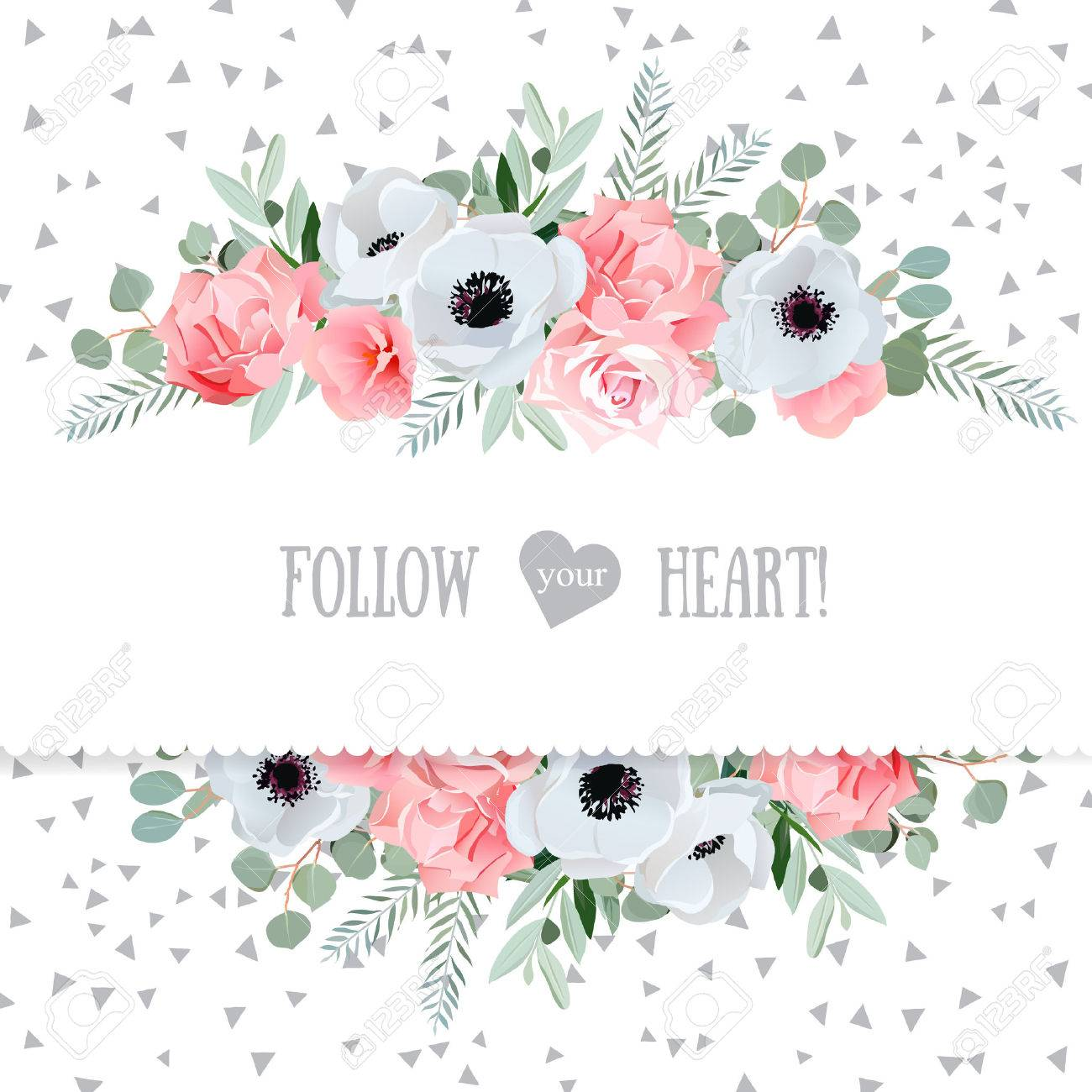 Anemone, rose, pink flowers and decorative eucaliptus leaves mirrored design card. Speckled triangle confetti backdrop. All elements are isolated and editable. - 55736402