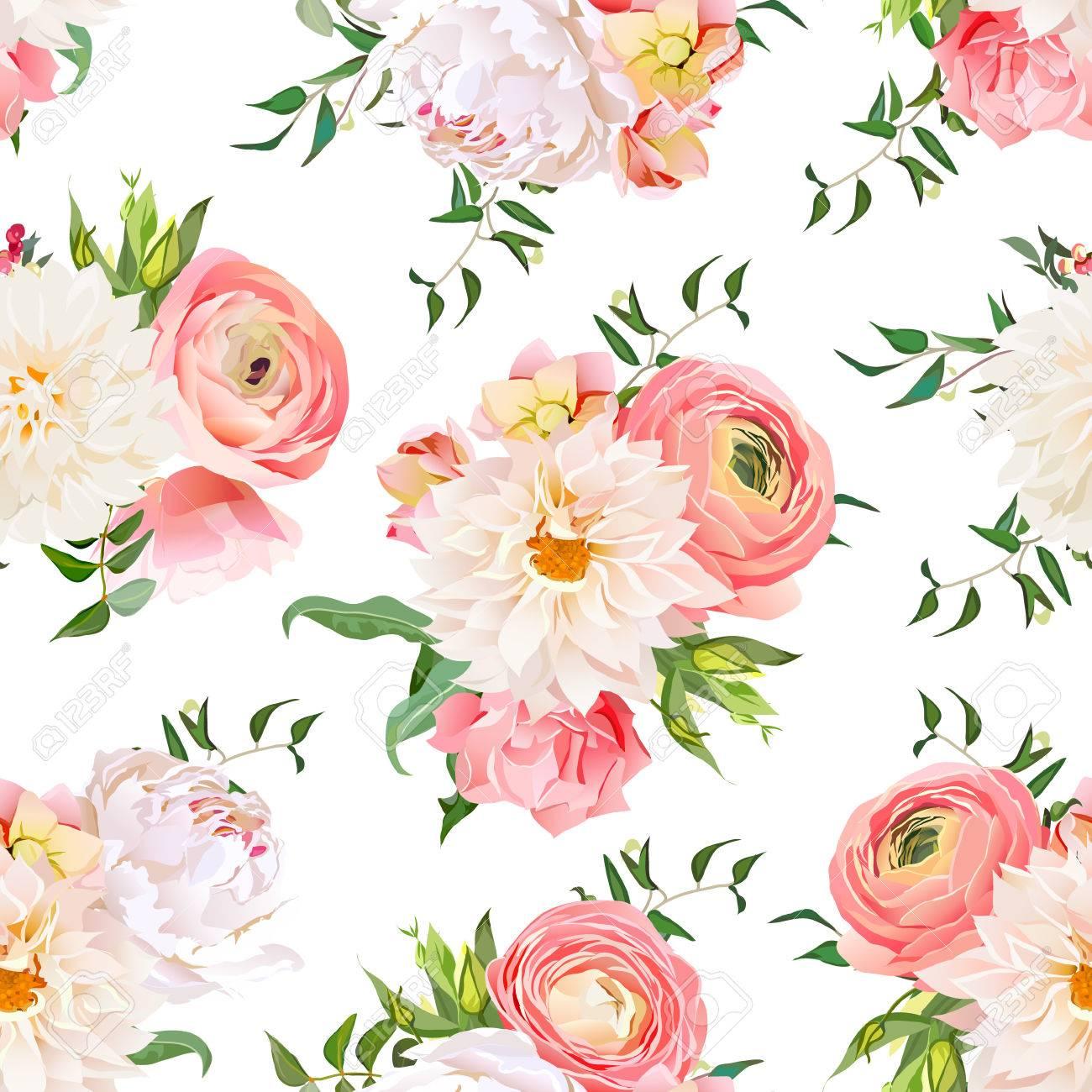 Garden Rose And Peony dahlia, ranunculus, rose and peony seamless pattern. romantic