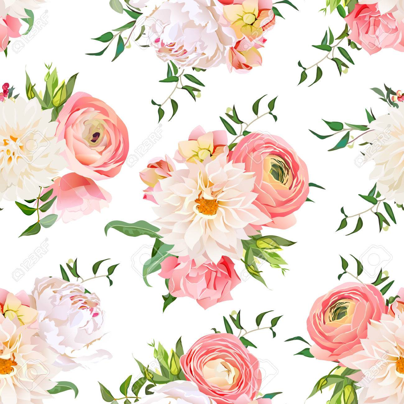 dahlia ranunculus rose and peony seamless pattern romantic garden print stock vector - Garden Rose And Peony