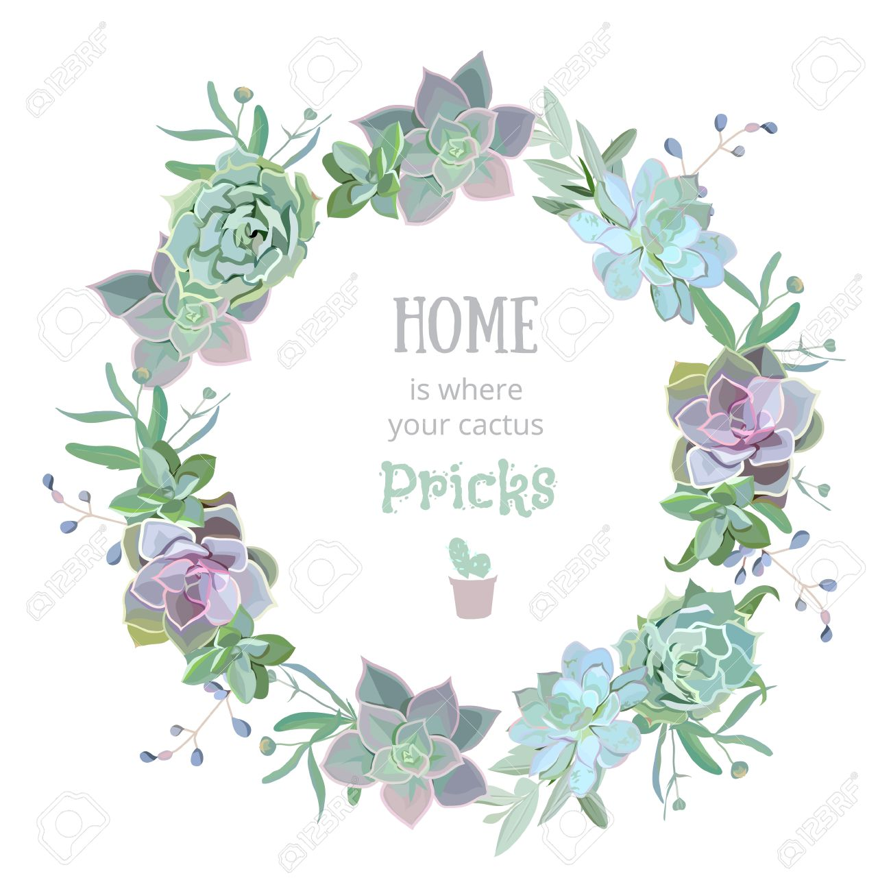 Green colorful succulent Echeveria vector design round frame. Natural cactus card in modern funky style. - 59843883