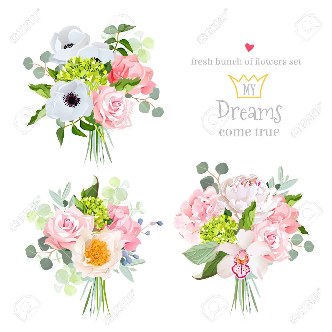 Feuille D Eucalyptus Bouquet bouquets surprise de rose, pivoine, anémone, hortensia, ?illet, orchidées  et d'eucalyptus feuilles.