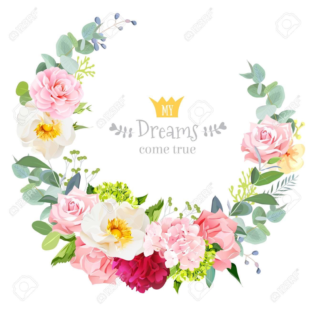 かわいい結婚式の花のデザインのラウンド フレーム。