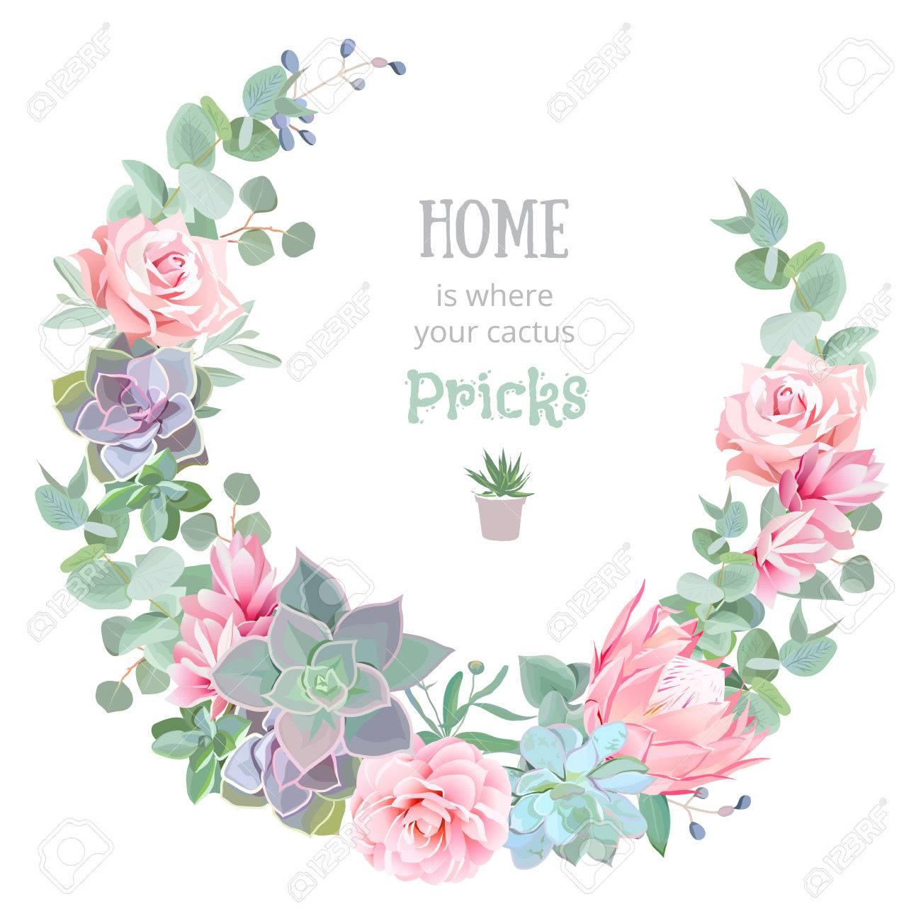 Stylish floral design round frame. Rose, camellia, pink flowers, echeveria, protea, eucaliptus leaves. - 62690883