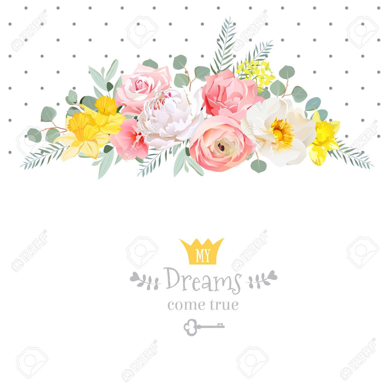 Rose, narcissus, pink flowers, ranunculus and decorative eucaliptus leaves design card. Polka dots backdrop. All elements are isolated and editable. - 67822971