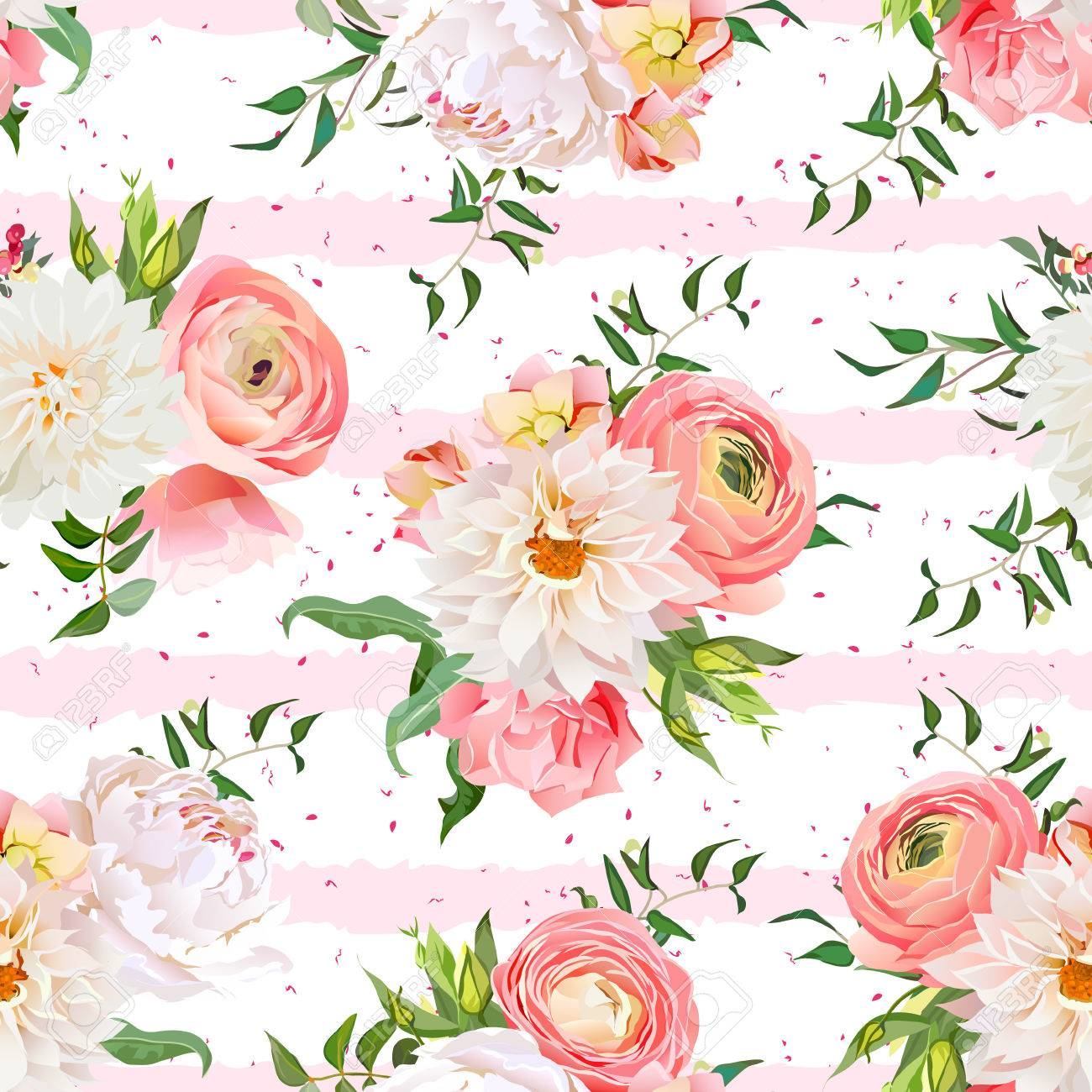 Dahlia, Ranunculus, Rose And Peony Seamless Pattern. Romantic Garden Print  With Pink Striped