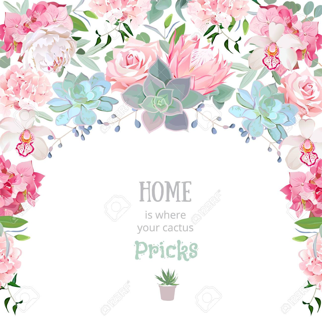 Semicircle garland frame with succulents, protea, rose, peony, orchid, echeveria, hydrangea, green plants. Cute wedding floral vector design. - 66769398