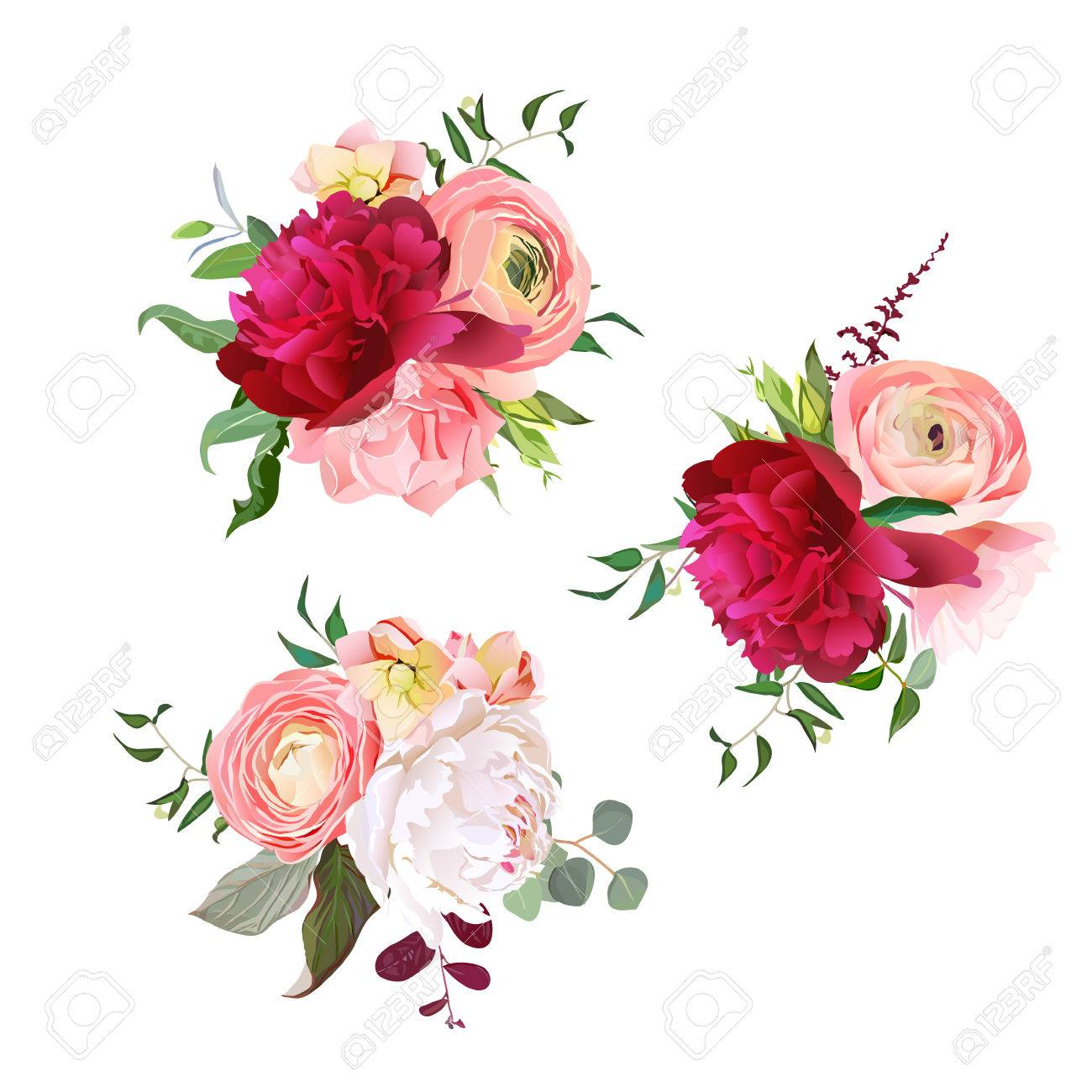 4b7888a88a8c0 Gift bouquets of rose, peony, ranunculus, carnation and eucalyptus leaves.  Romantic surprise