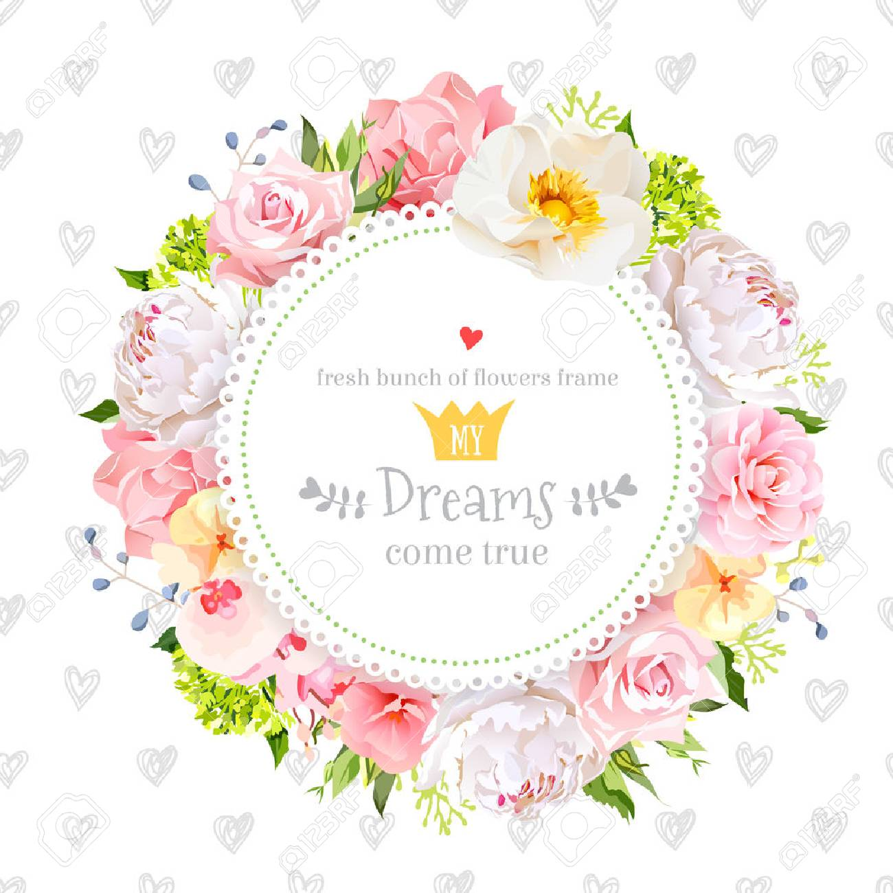 Peony, wild rose, orchid, carnation, camellia, hydrangea, blue berries and green leaves vector design round card. Simple backdrop with hand drawn hearts. All elements are isolated and editable. - 66855094