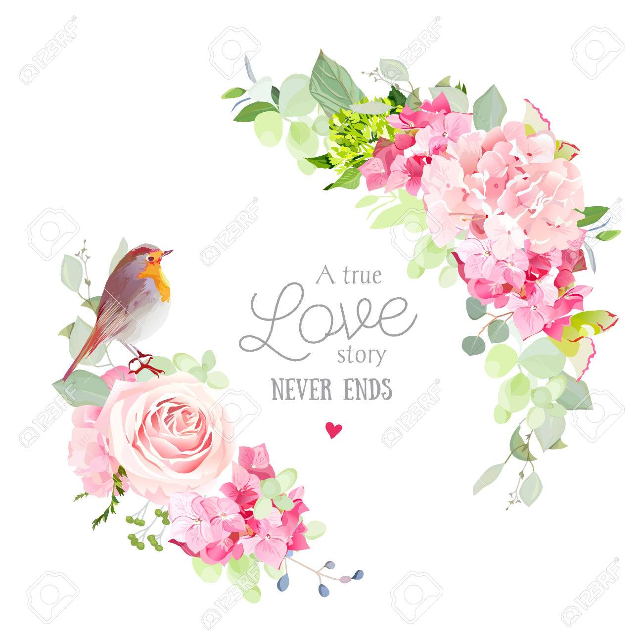 Floral vector round frame with pink rose, hydrangea, carnation flowers, mixed plants and cute small robin bird. Half moon shape bouquets. All elements are isolated and editable - 71320436