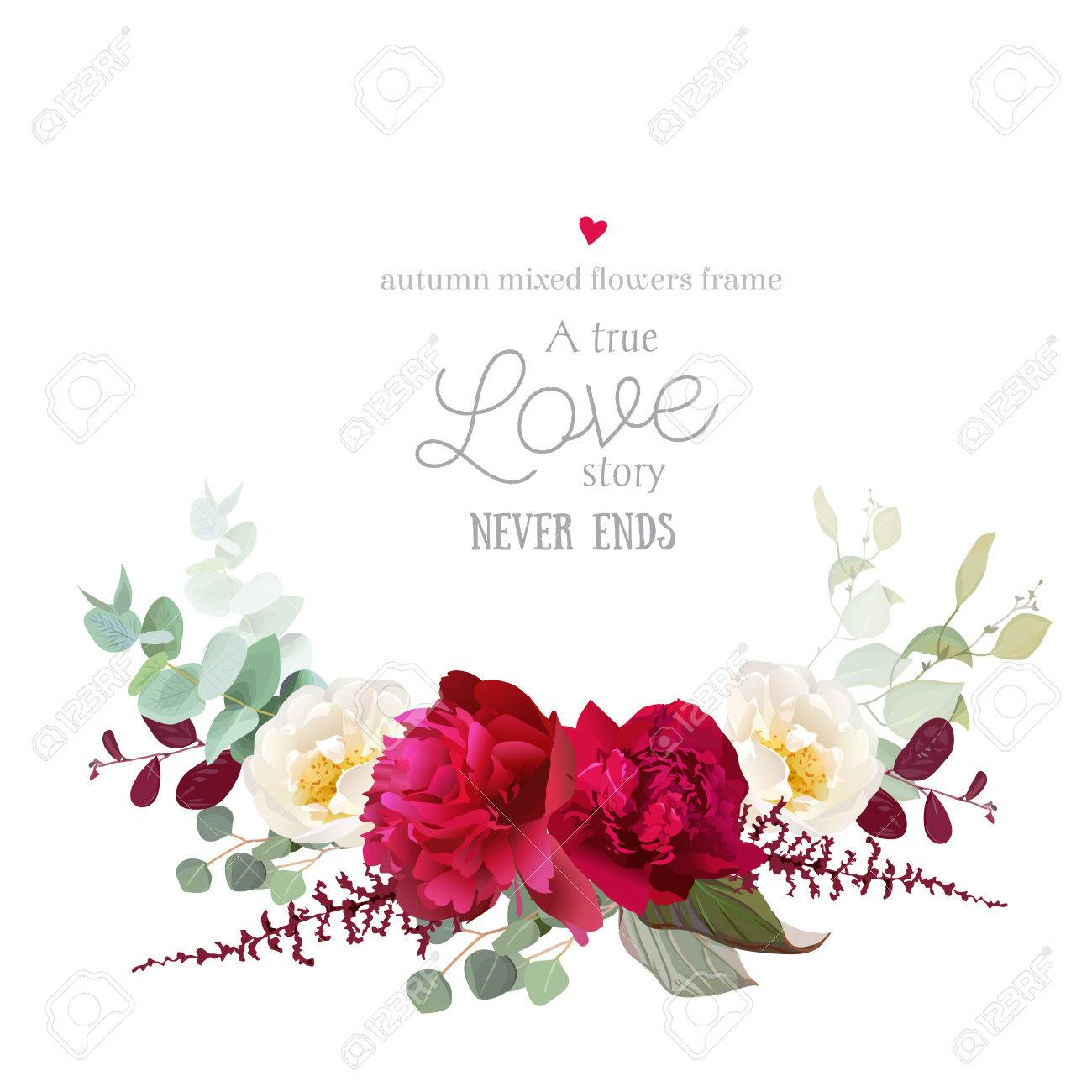 Elegant Autumn Horizontal Floral Bouquet Vector Design Card