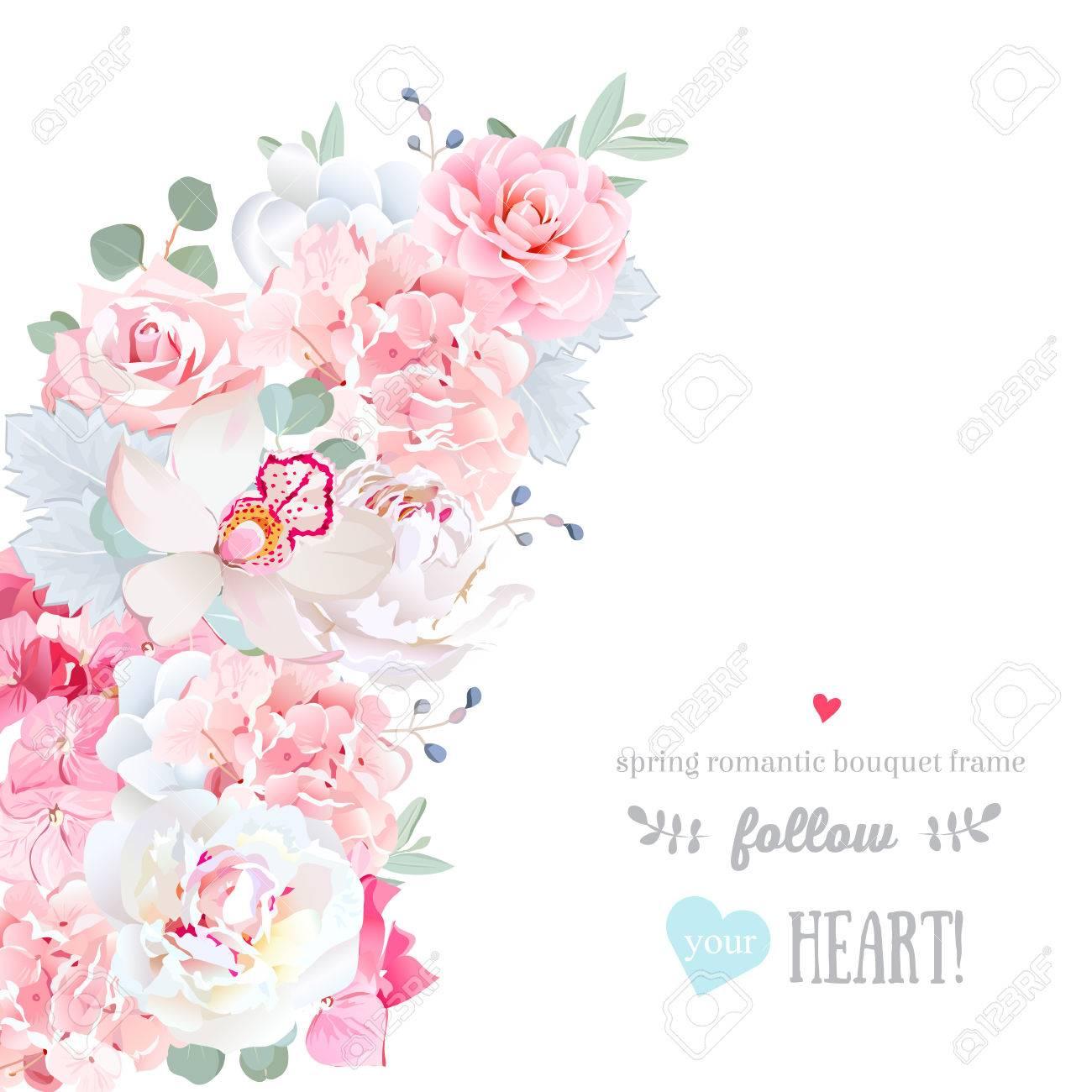 白い結婚式の花、かわいい花三日月形ベクトル フレーム