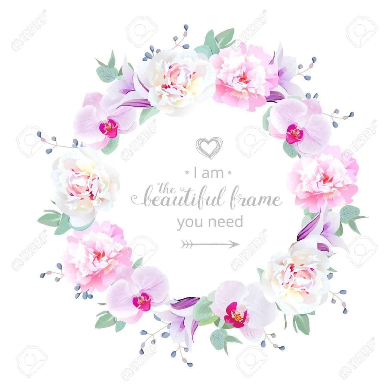 Schone Hochzeit Blumen Vektor Design Runden Rahmen Lizenzfrei