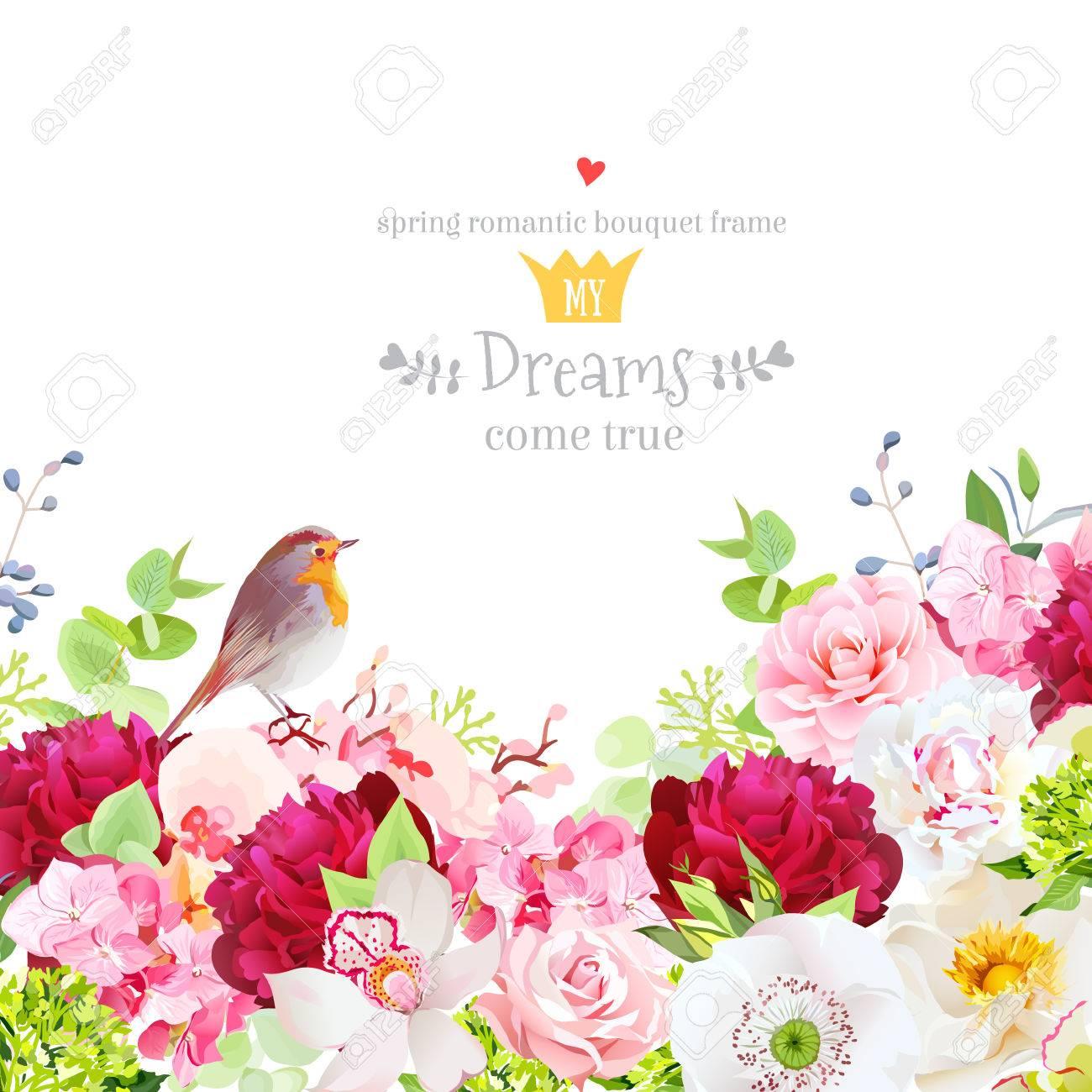 Botanical style frame with flower mix - 83853001