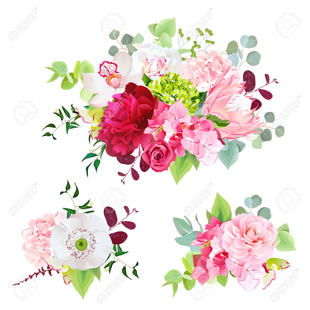 Summer Mixed Bouquets Of Flowers And Leaves Royalty Free Cliparts ...