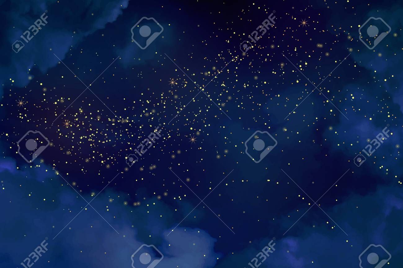 Magic night dark blue sky with sparkling stars. Gold glitter powder splash vector background. Golden scattered dust. Midnight milky way. Christmas winter texture with clouds. - 92870336