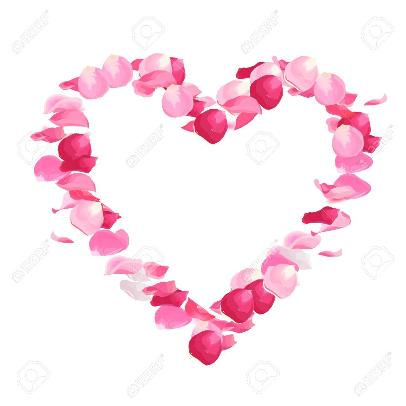 Pink Rose Petals Vector Design Heart Shaped Frame Flying In