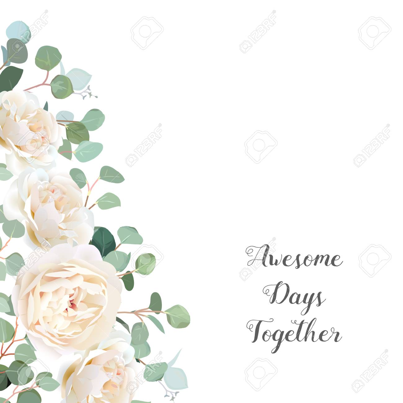 Creamy White Roses And Silver Dollar Eucalyptus Branches Vector Design Frame Cute Rustic Wedding Greenery