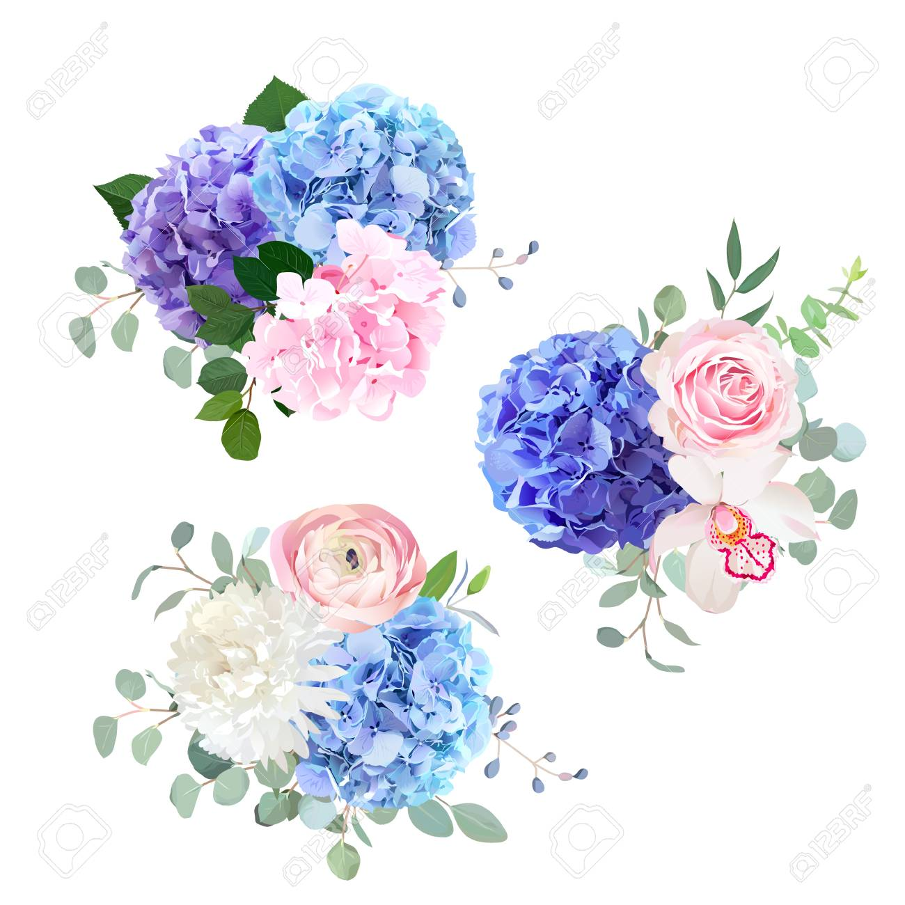 Blue, pink and purple hydrangea, orchid, rose, white chrysanthem - 92872211