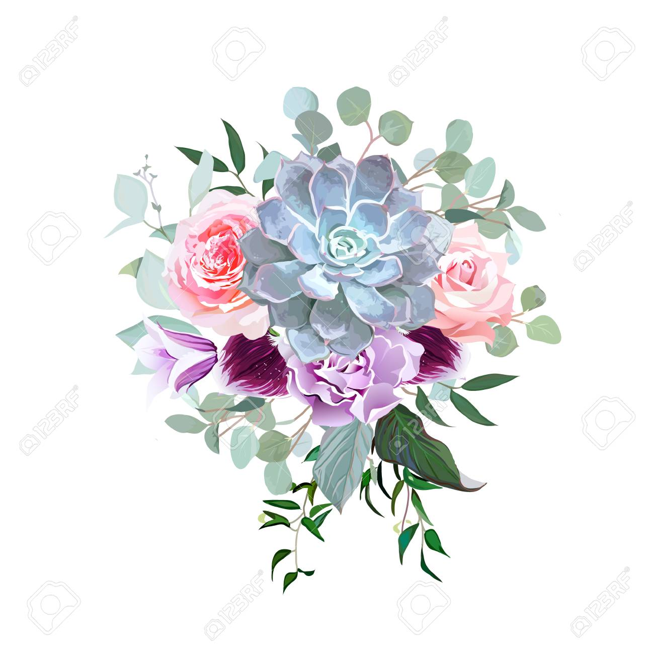 Stylish Plum Colored And Pink Flowers Vector Design Bouquet Royalty ...