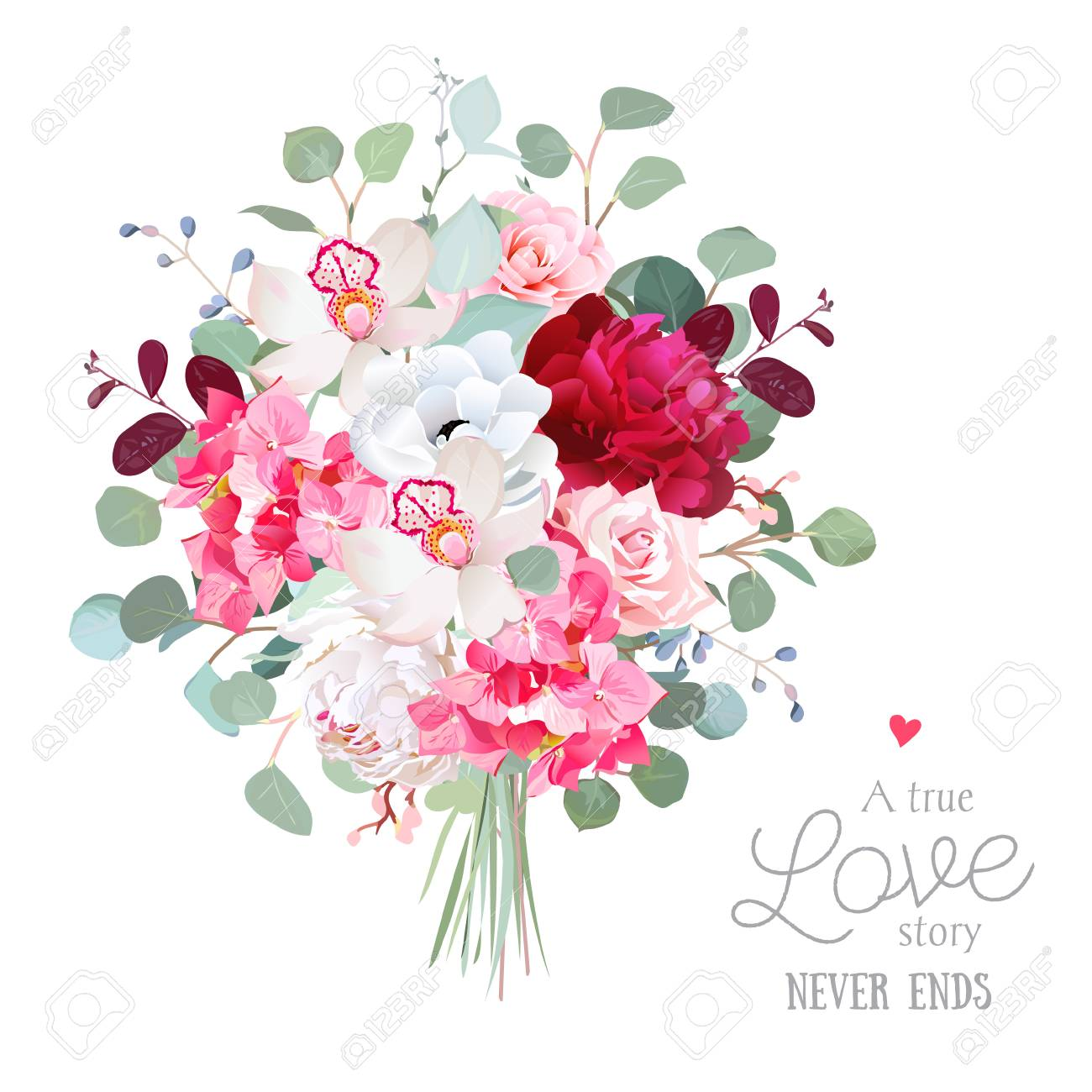 Watercolor Style Flowers Bouquet. White And Burgundy Red Peony ...