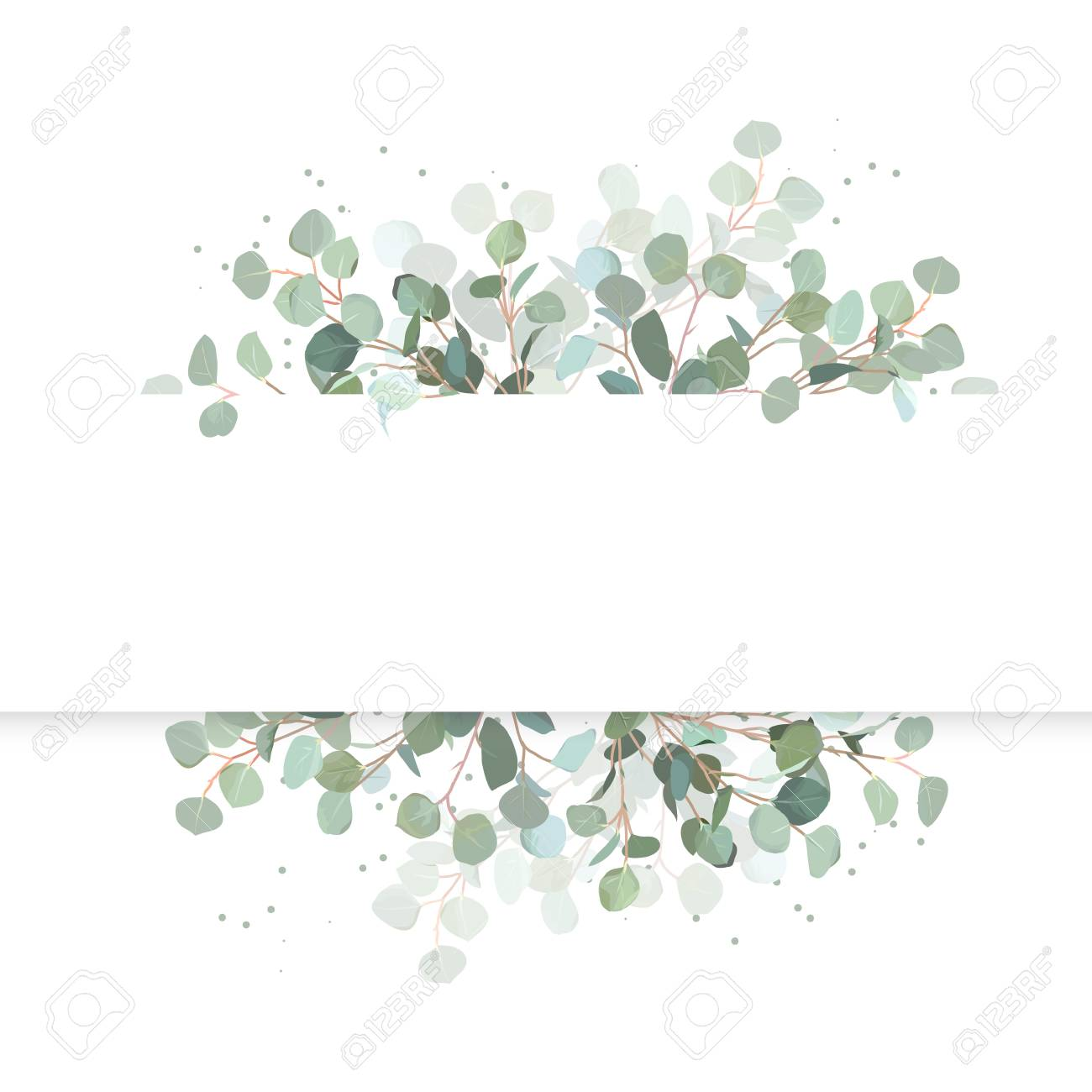 Wedding eucalyptus horizontal vector design banner. Rustic greenery. Mint, blue tones. Watercolor style collection. Mediterranean tree. All elements are isolated and editable - 94711772