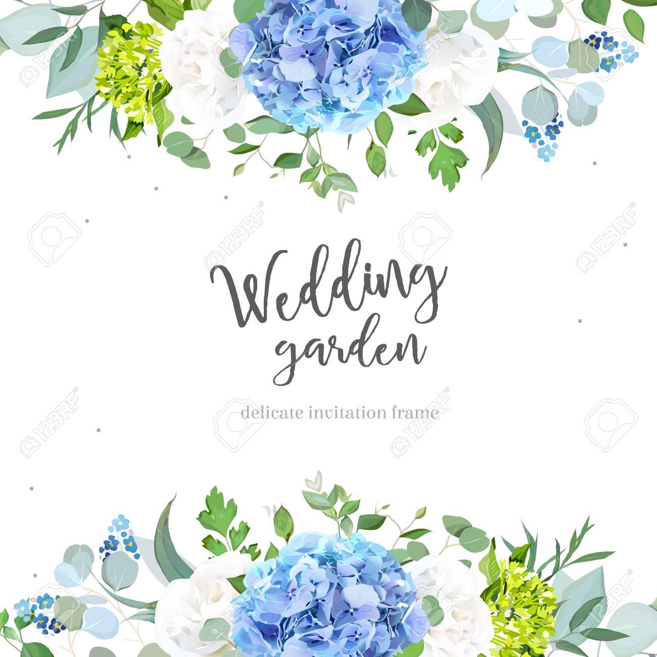 Light blue hydrangea, white rose, forget me not wildflowers, euc - 101907179