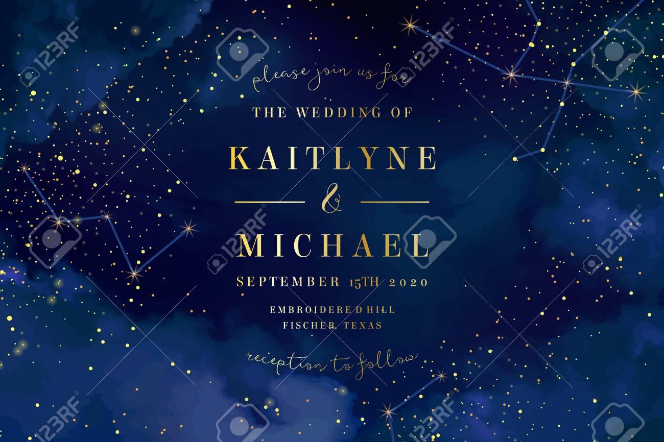 Magic night dark blue sky with sparkling stars vector wedding invitation. Andromeda galaxy. Gold glitter powder splash background. Golden scattered dust. Midnight milky way. Fairytale magic card. - 110154542