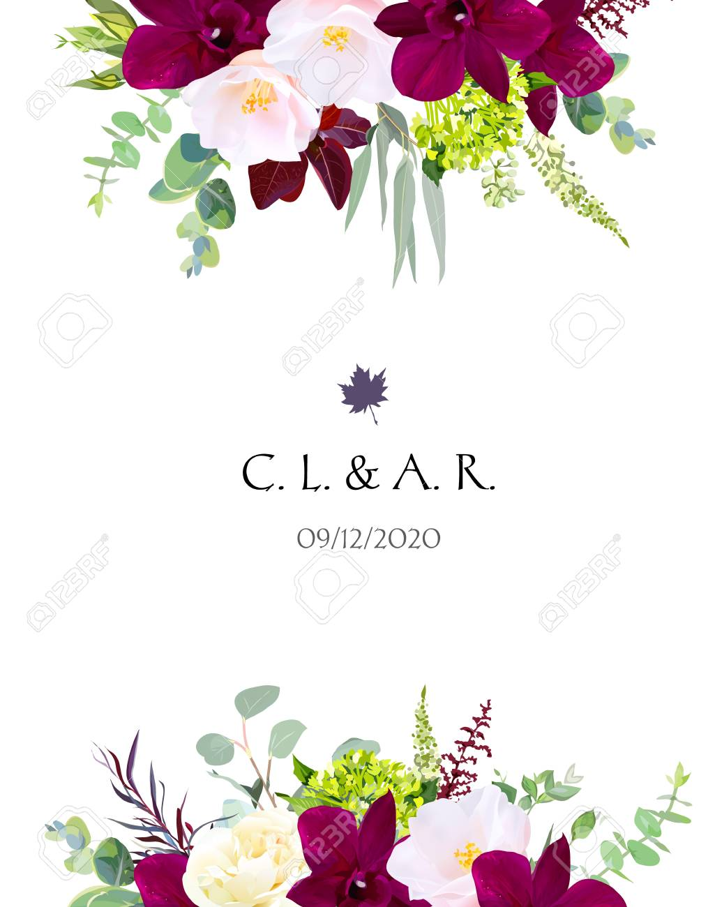 Luxury fall flowers vector design card. Dark orchid, pink camellia,..
