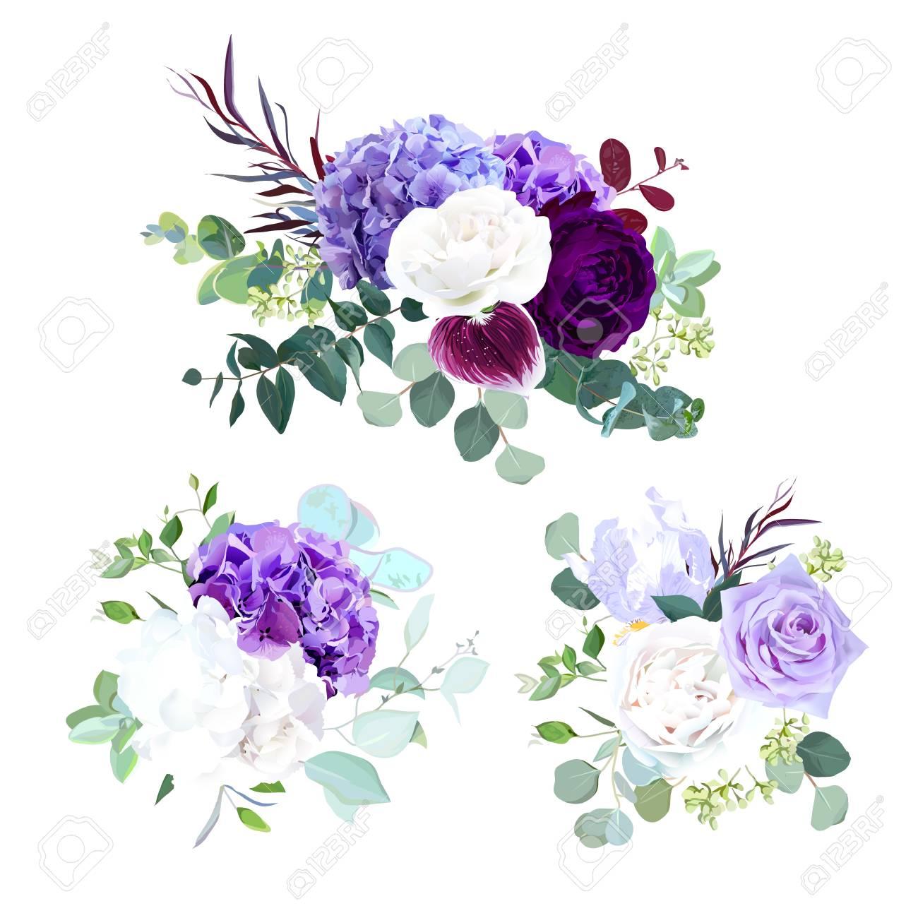 Elegant Seasonal Dark Flowers Vector Design Wedding Bouquets Purple Royalty Free Cliparts Vectors And Stock Illustration Image 109885189