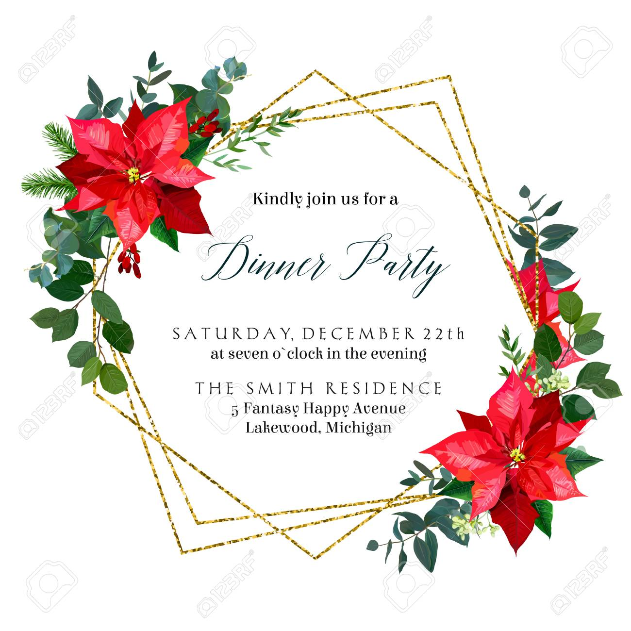 Christmas Greenery Vector.Red Poinsettia Flowers Christmas Greenery Mix Of Seasonal Plan