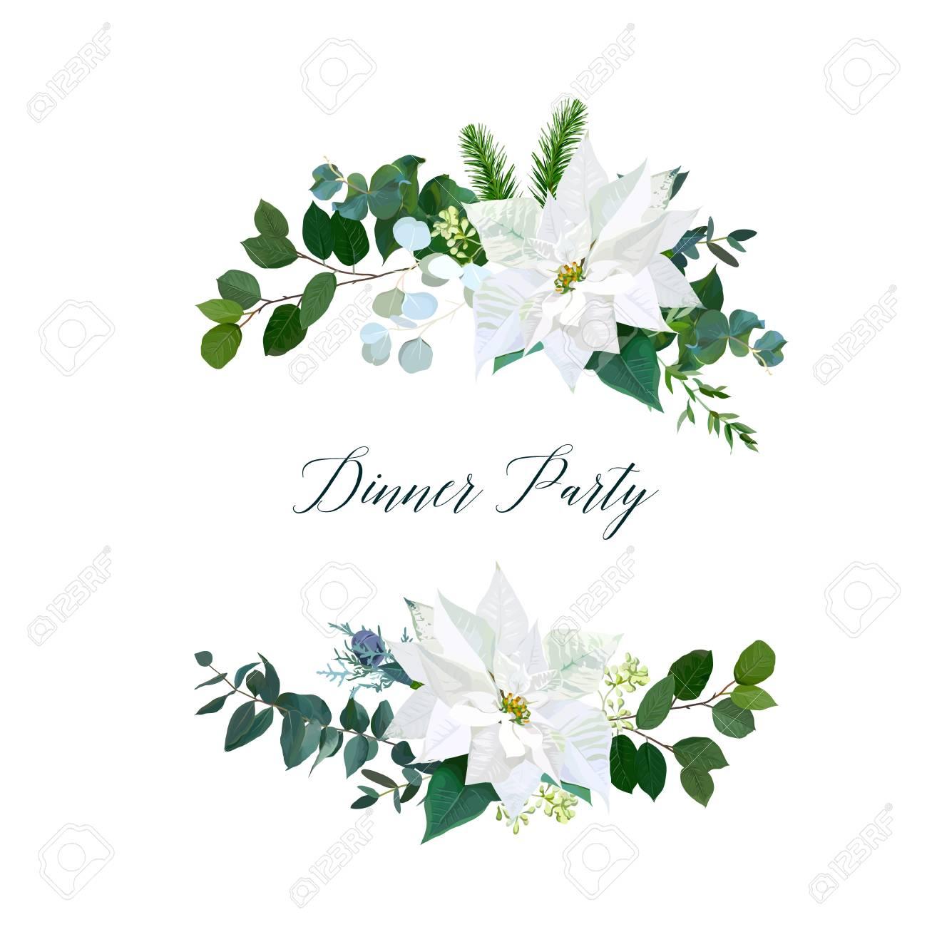 Christmas Greenery Vector.White Poinsettia Flowers Christmas Greenery Emerald Eucalyptus