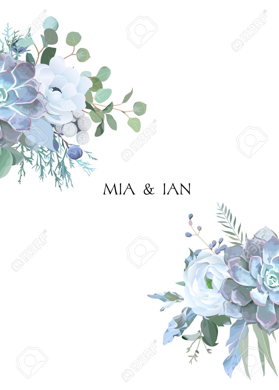 Dusty Blue And White Flowers Ranunculus Anemone Eucalyptus Royalty Free Cliparts Vectors And Stock Illustration Image 127273363