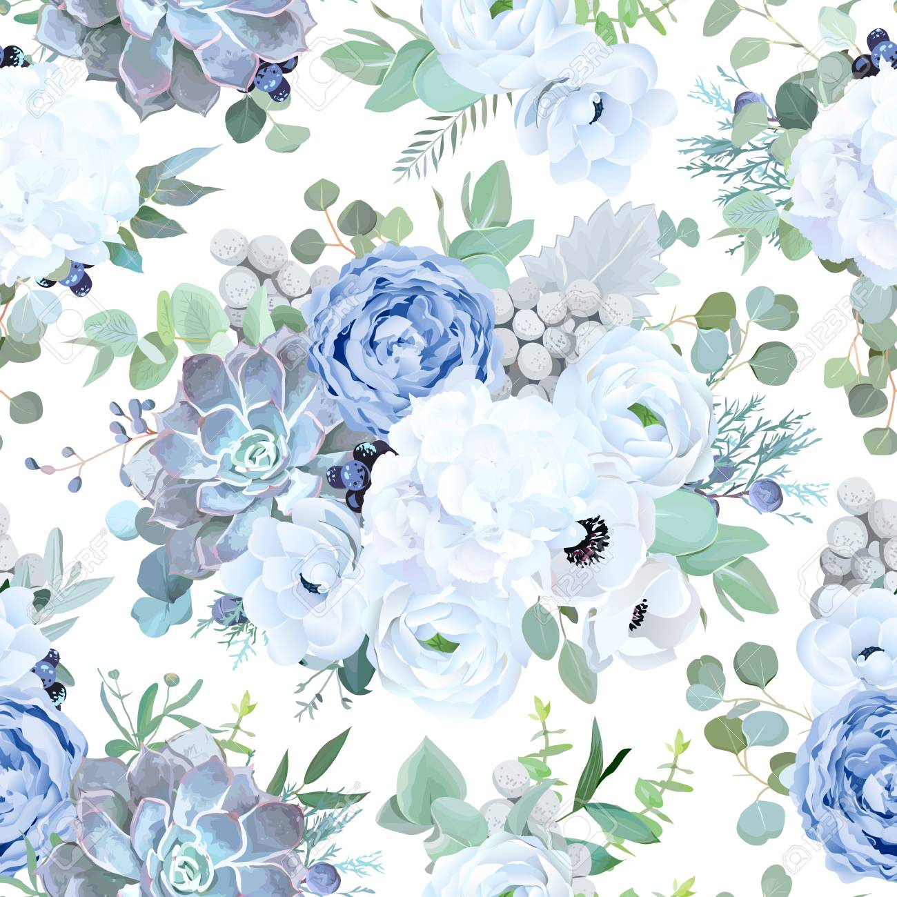Seamless Vector Design Pattern From Dusty Blue Garden Rose White Royalty Free Cliparts Vectors And Stock Illustration Image 126968758