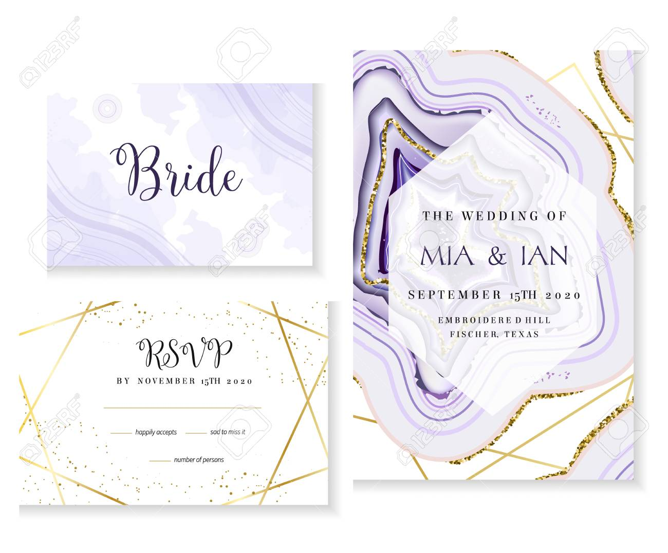 Amethyst crystal geode purple wedding vector cards. Stylish ultraviolet texture frames. Gold line art. Sparkling gems. Natural stone. Trendy glitter invitation. All elements are isolated and editable. - 117336215