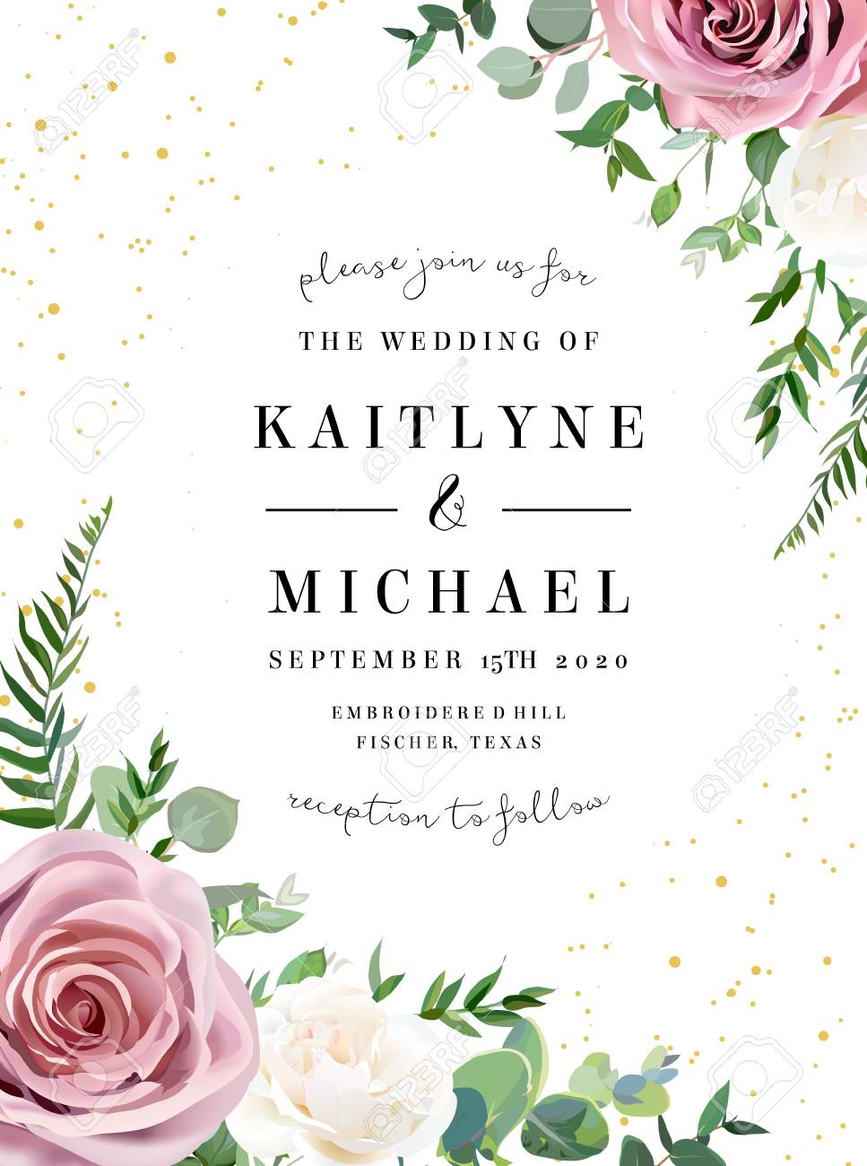 Dusty pink, creamy white antique rose, pale flowers vector design wedding frame. Eucalyptus, spring greenery. Gold glitter.Floral pastel watercolor style border. All elements are isolated and editable - 116421506