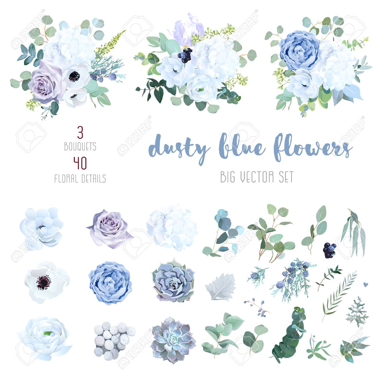 Dusty Blue Pale Purple Rose White Hydrangea Ranunculus Iris Royalty Free Cliparts Vectors And Stock Illustration Image 124803180