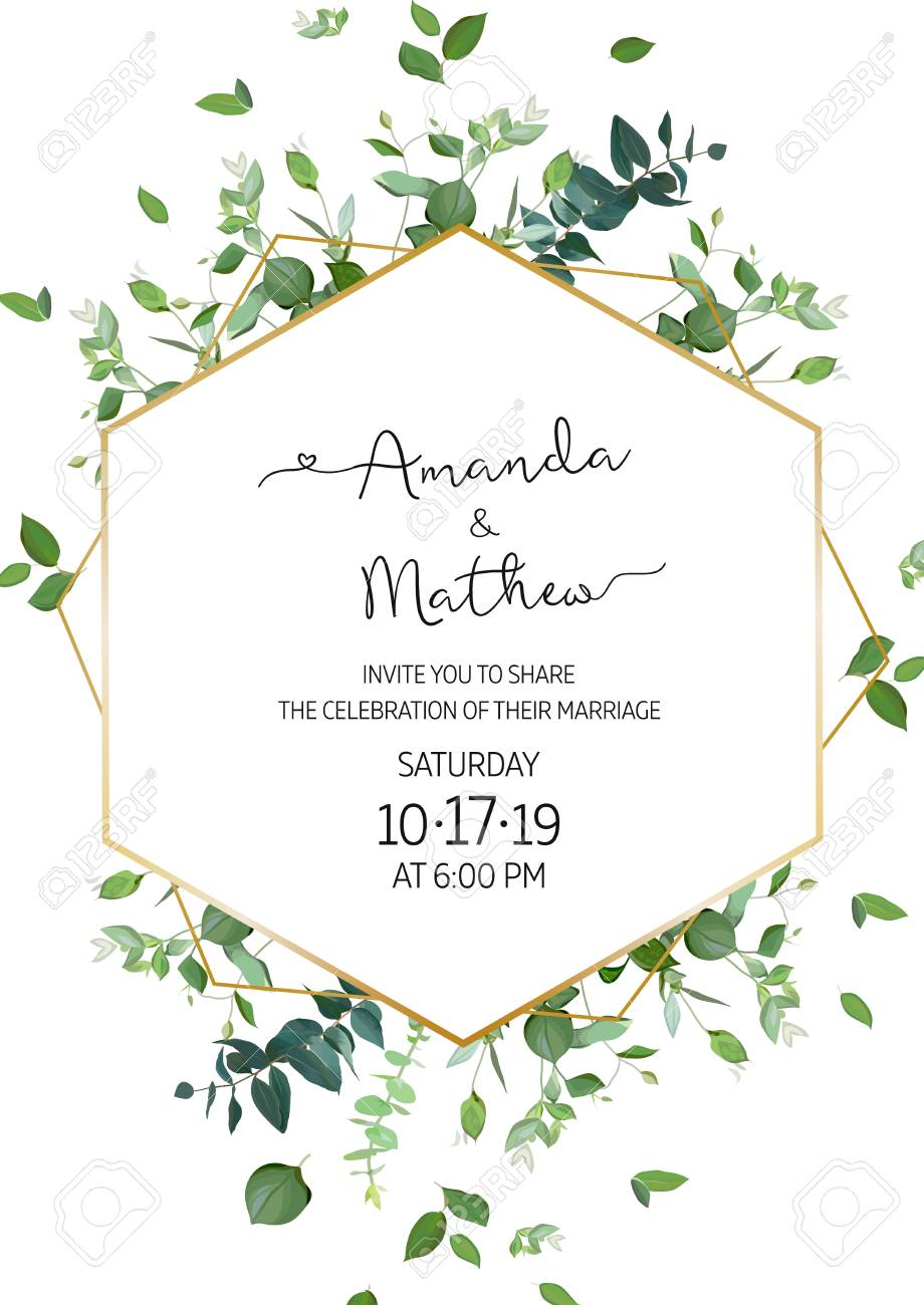 Herbal minimalist vertical vector frame. Hand painted plants, branches, leaves on white background. Greenery wedding invitation. Watercolor style. Gold line art. All elements are isolated and editable - 125286836