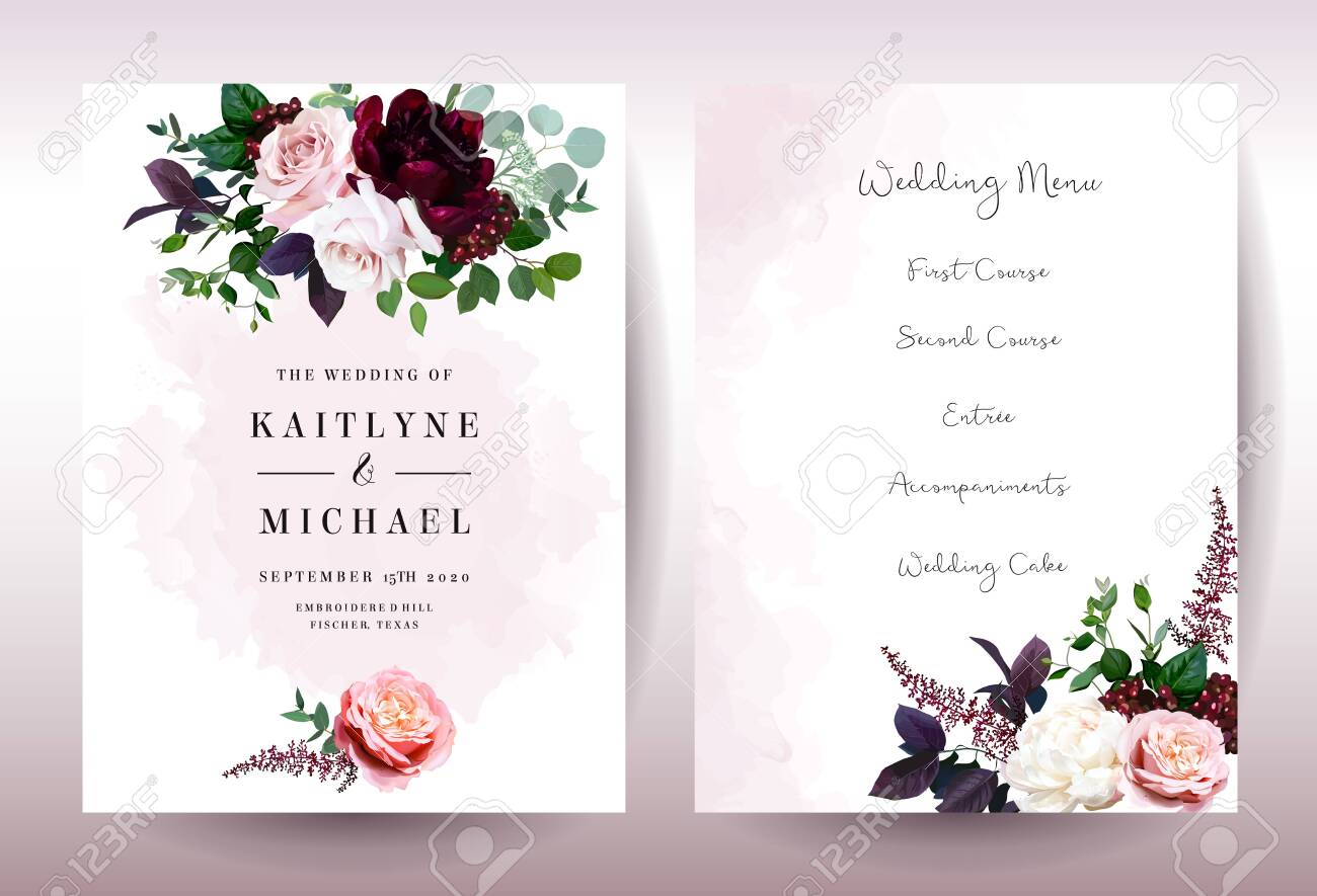 Luxury Fall Flowers Wedding Vector Bouquet Cards Garden Dusty Royalty Free Cliparts Vectors And Stock Illustration Image 132600745