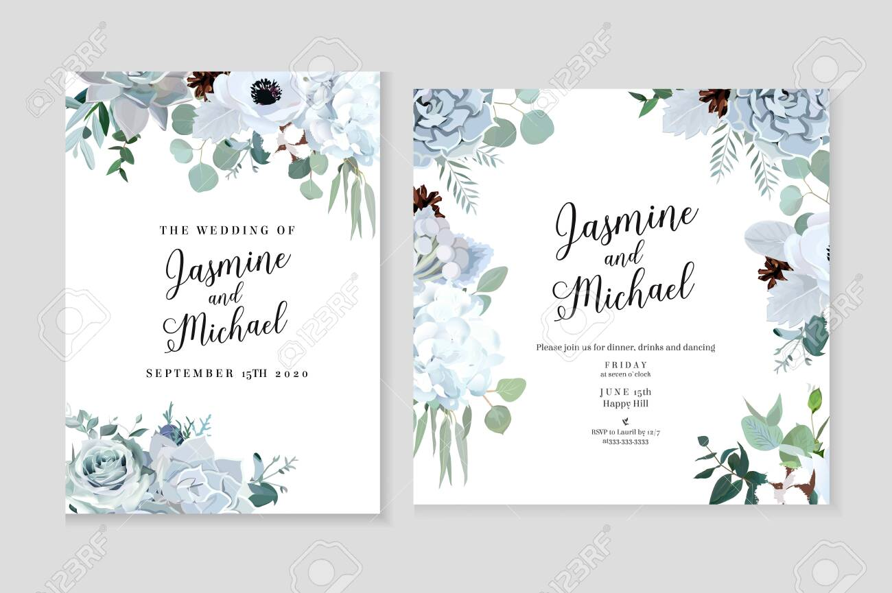 Winter grey and green jade color vector design cards. Echeveria succulent, anemone, hydrangea, cotton, brunia, rose, eucalyptus, greenery. Trendy pastel wedding frames collection.Isolated and editable - 133093670