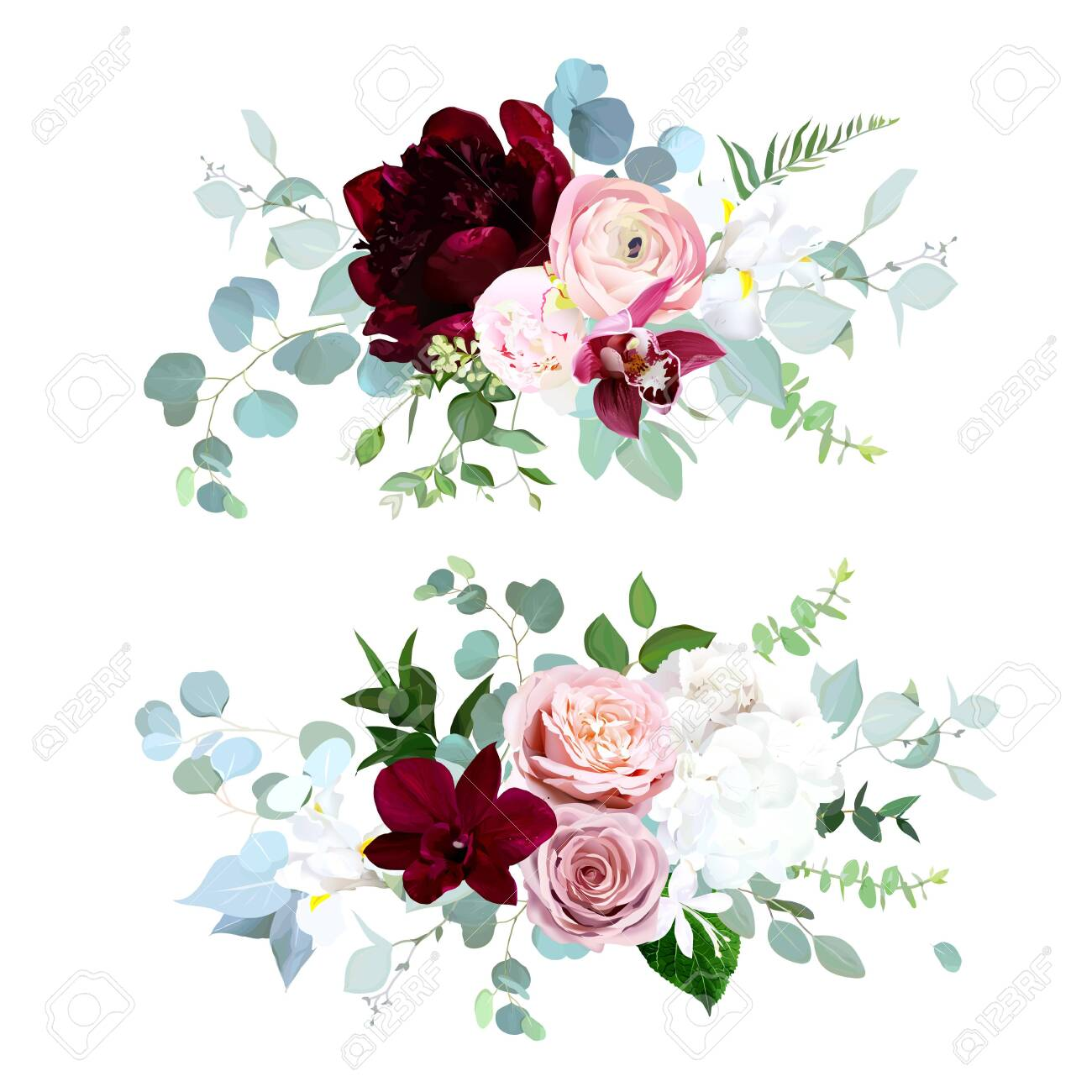 Luxury fall flowers vector bouquets. Pink orchid, dusty pink rose, ranunculus, burgundy red peony, white hydrangea and iris, blue eucalyptus, greenery. Autumn wedding flowers. Isolated and editable - 135077823