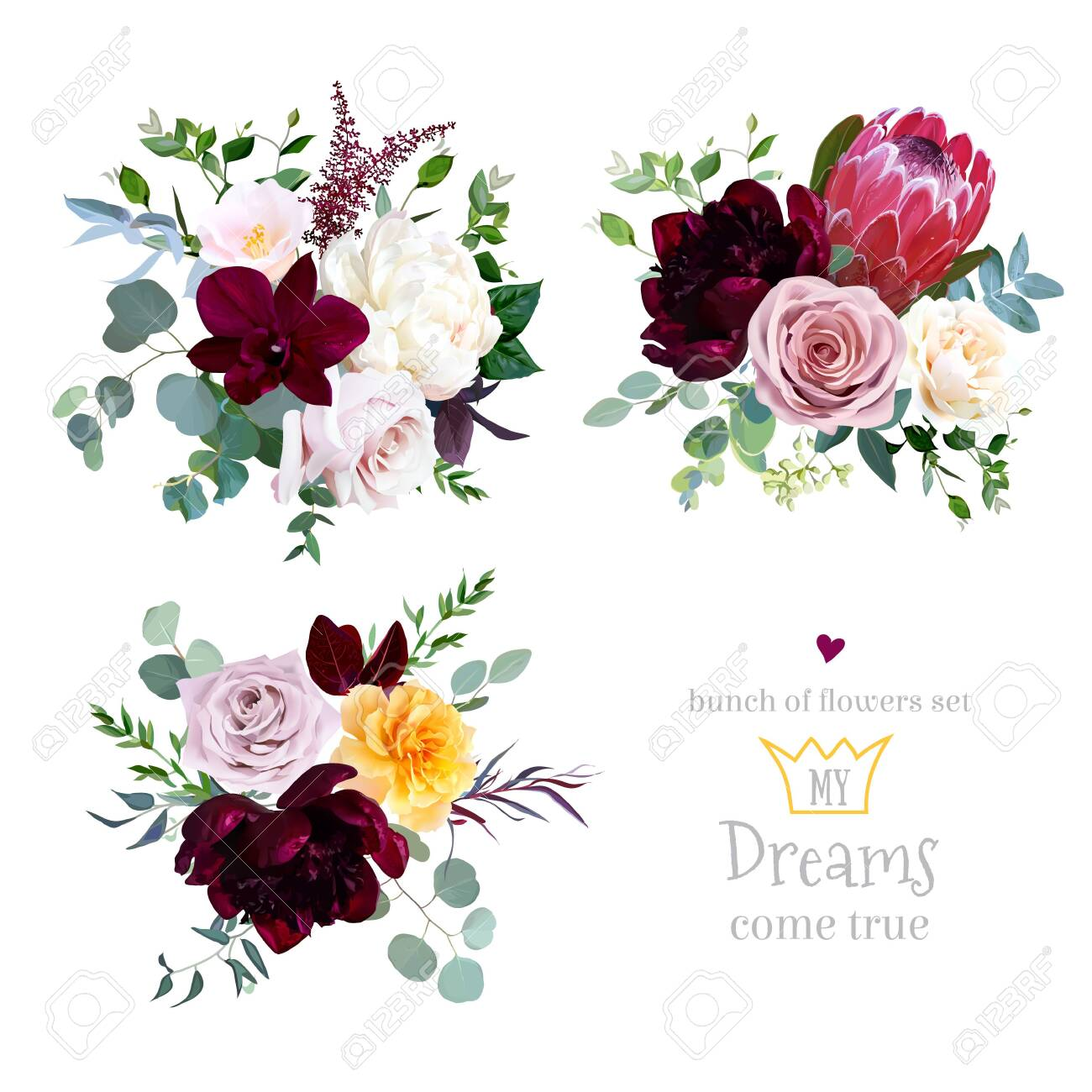 Dusty pink, yellow and creamy rose, magenta protea, burgundy and white peony flowers, orchid, pink camellia, eucalyptus, greenery, berry, marsala astilbe vector design bouquets. Isolated and editable - 136423704