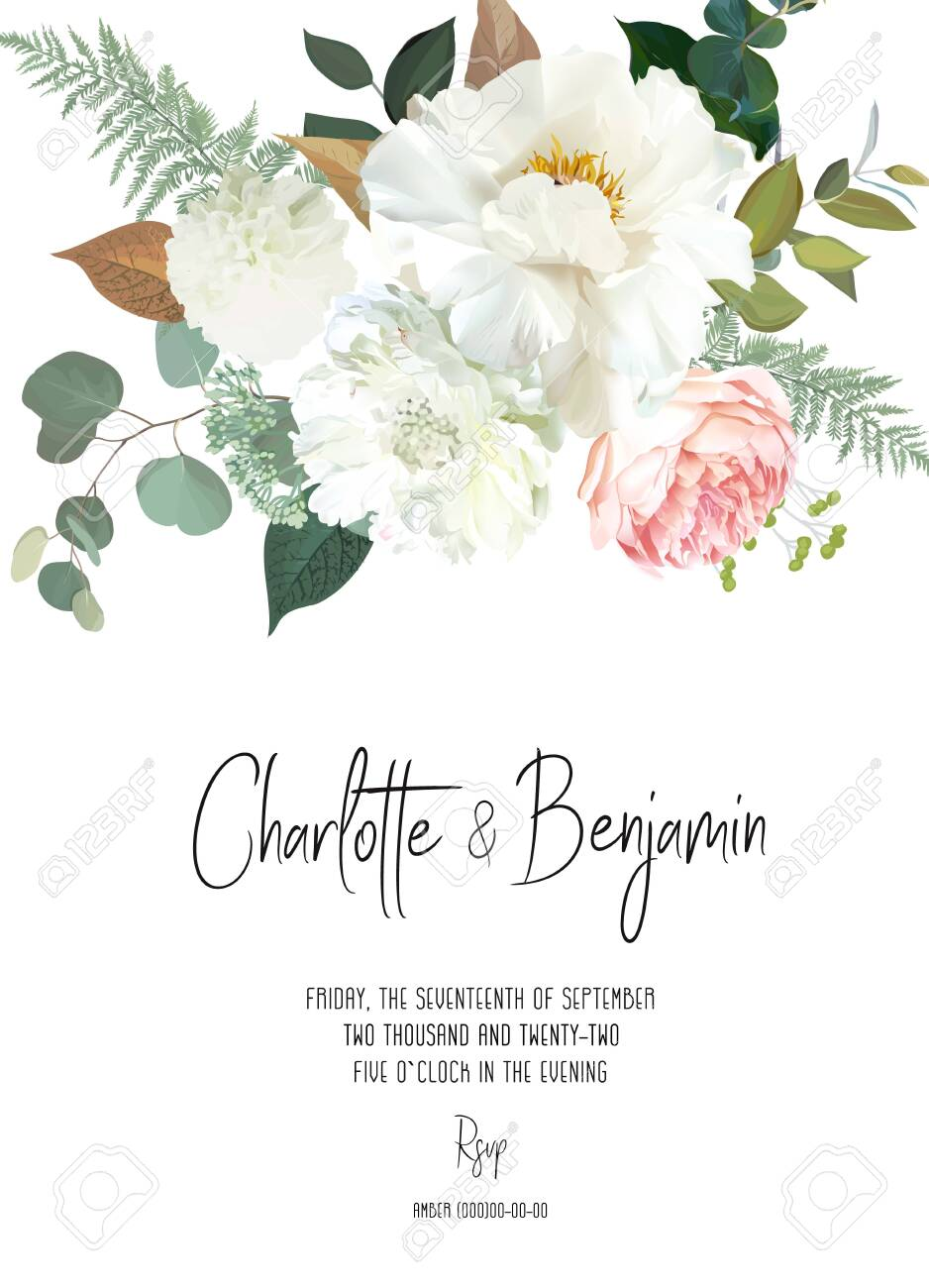 Retro delicate vector design flower card. Creamy peony, white dahlia, pink garden rose, eucalyptus, greenery, sage and blush. Wedding floral background. Watercolor vintage frame. Isolated and editable - 137413075